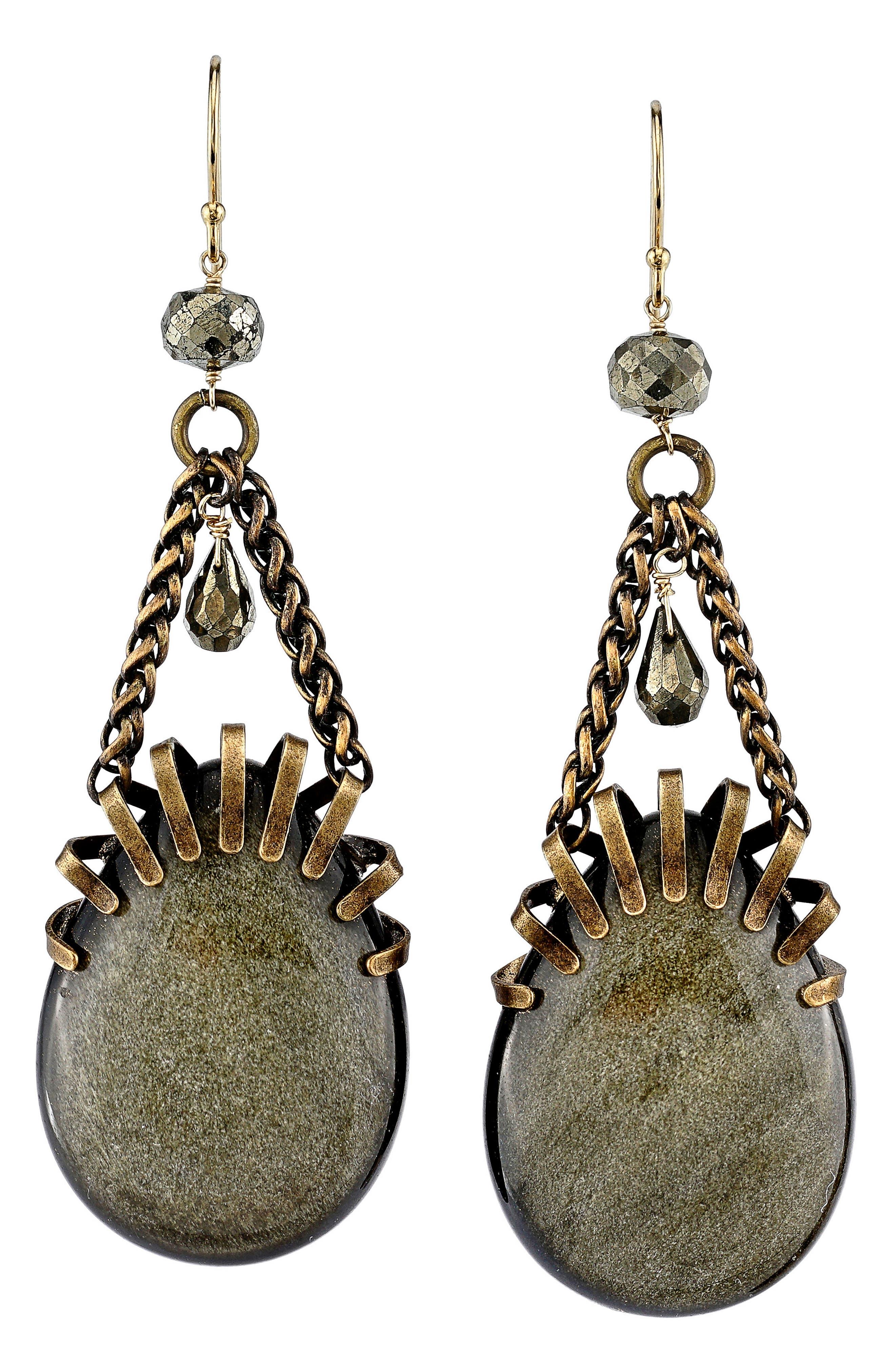 Pyrite Drop Earrings,                         Main,                         color, Gold
