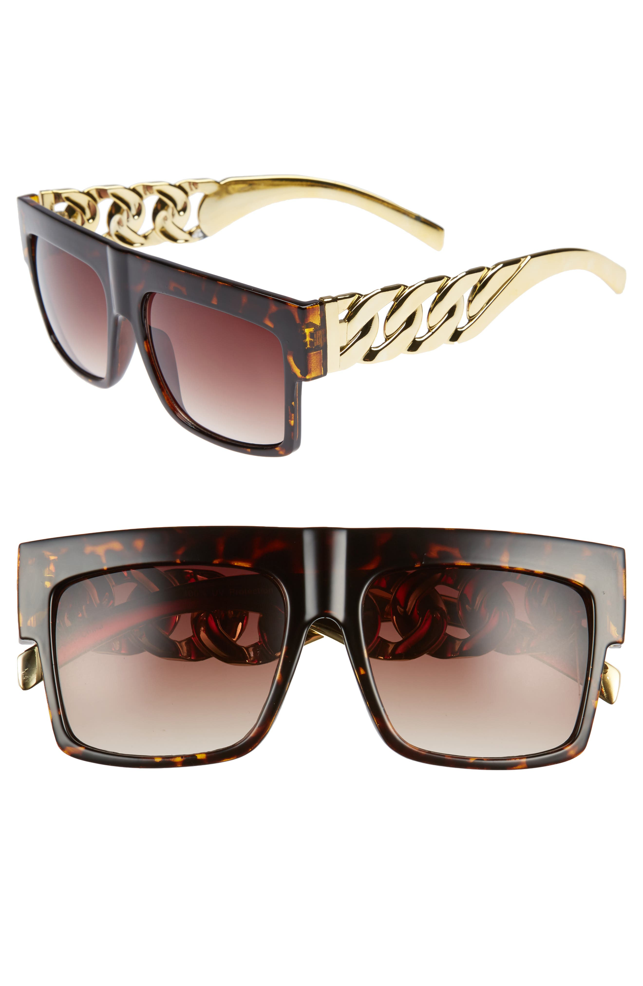 BP. 52mm Chain Detail Shield Sunglasses