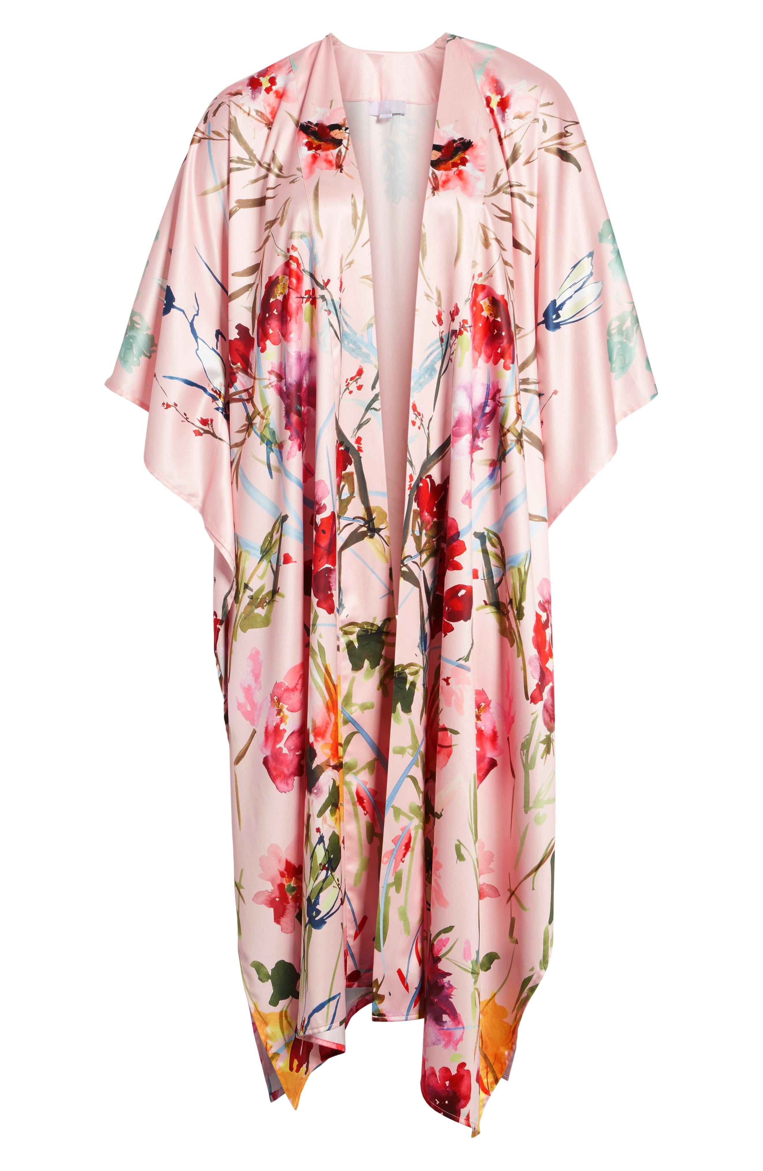 Floral Kimono,                             Alternate thumbnail 6, color,                             Pink Fantasy Garden Print
