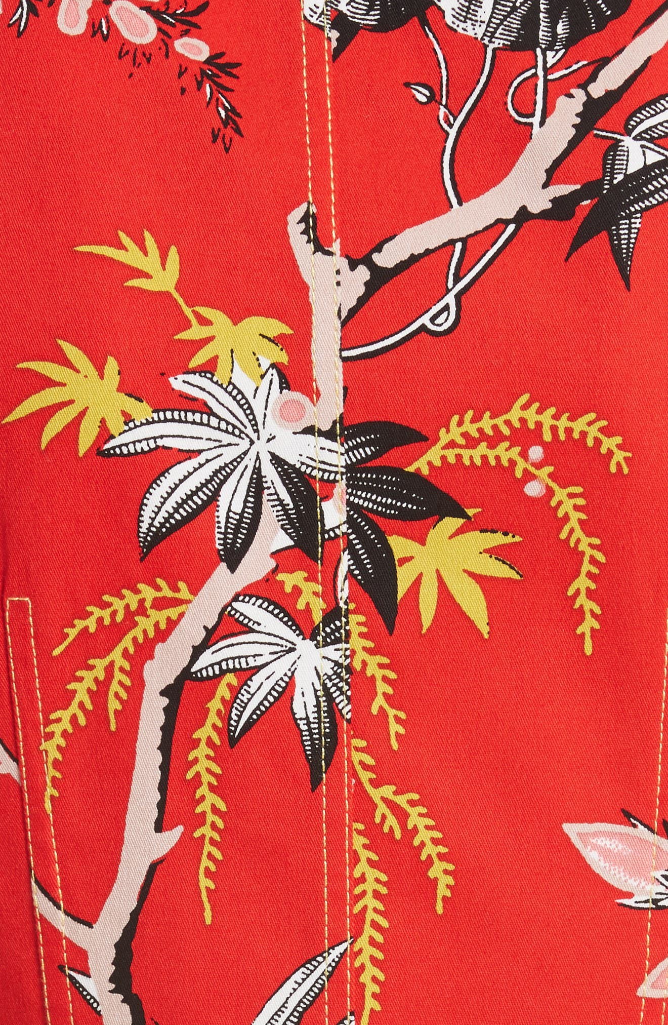 Diane von Furstenberg Floral Zip Front Stretch Cotton Sheath Dress,                             Alternate thumbnail 5, color,                             Avalon Poppy