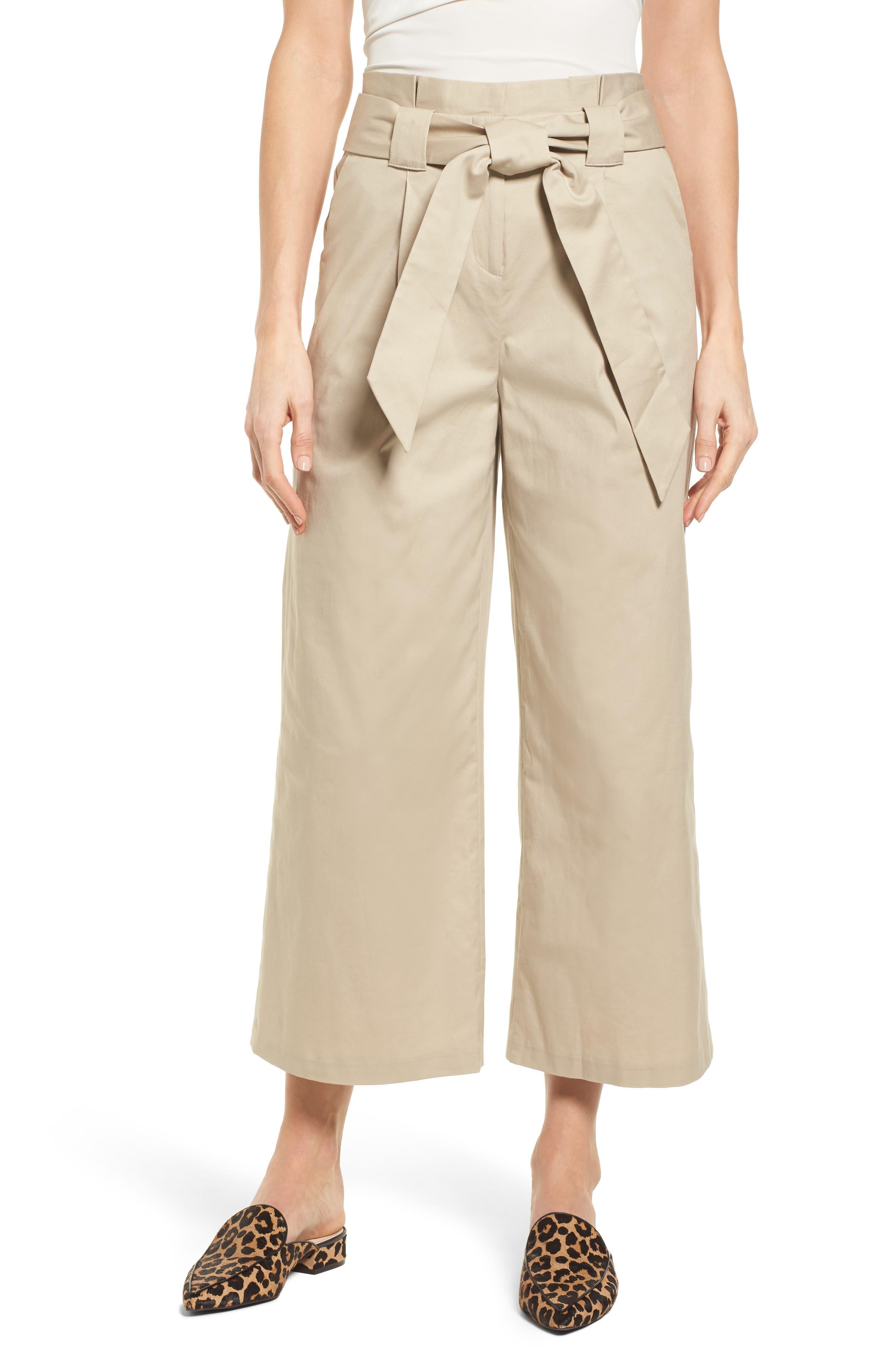 Paperbag Waist Belted Wide Leg Crop Pants,                         Main,                         color, Tan Oxford