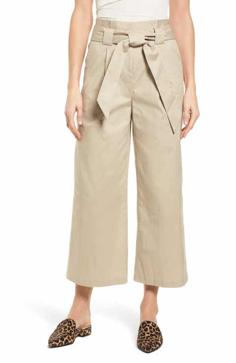 Halogen® Paperbag Waist Belted Wide Leg Crop Pants (Regular & Petite)