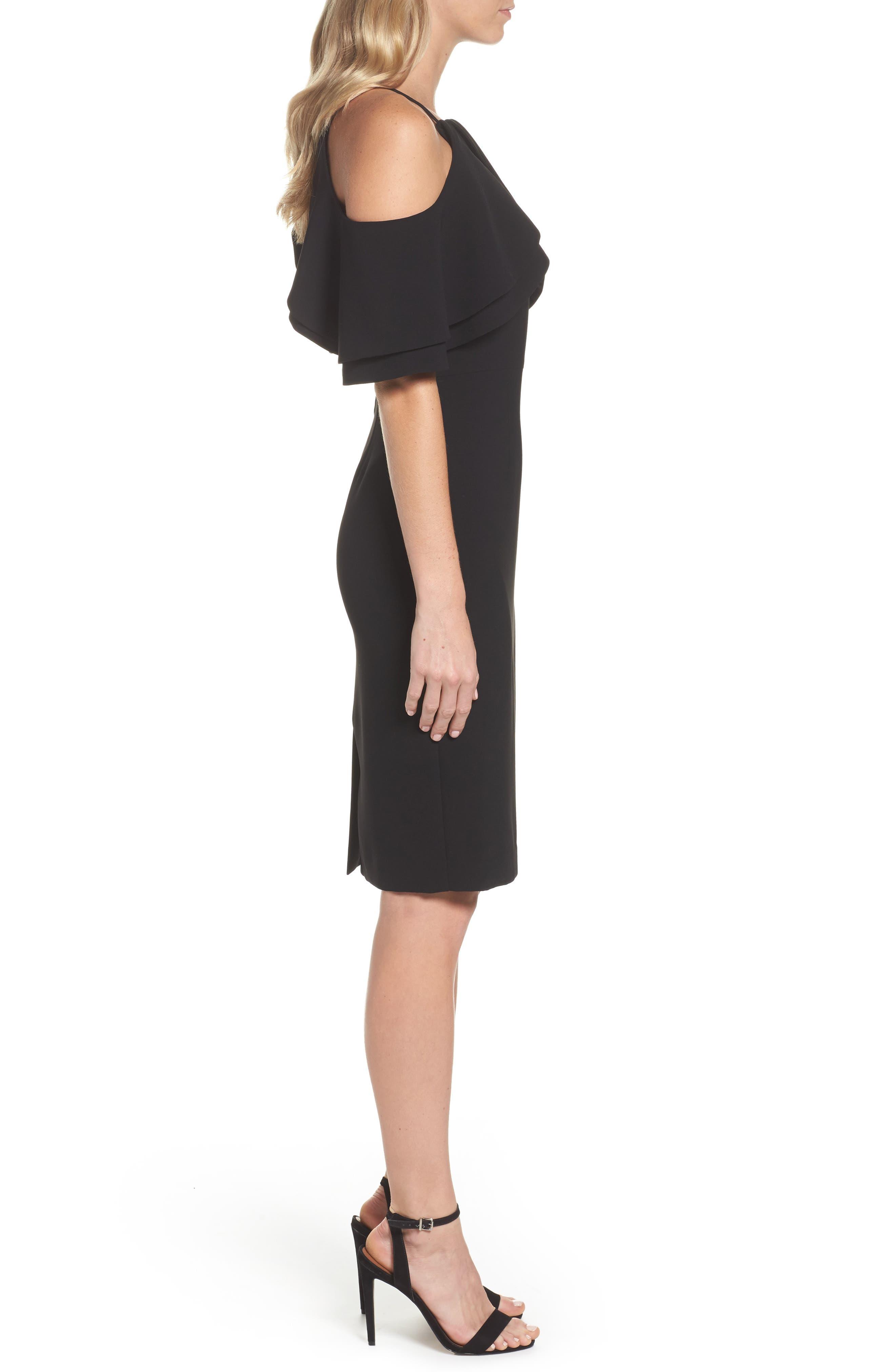 Double Ruffle Cold Shoulder Sheath Dress,                             Alternate thumbnail 3, color,                             Black