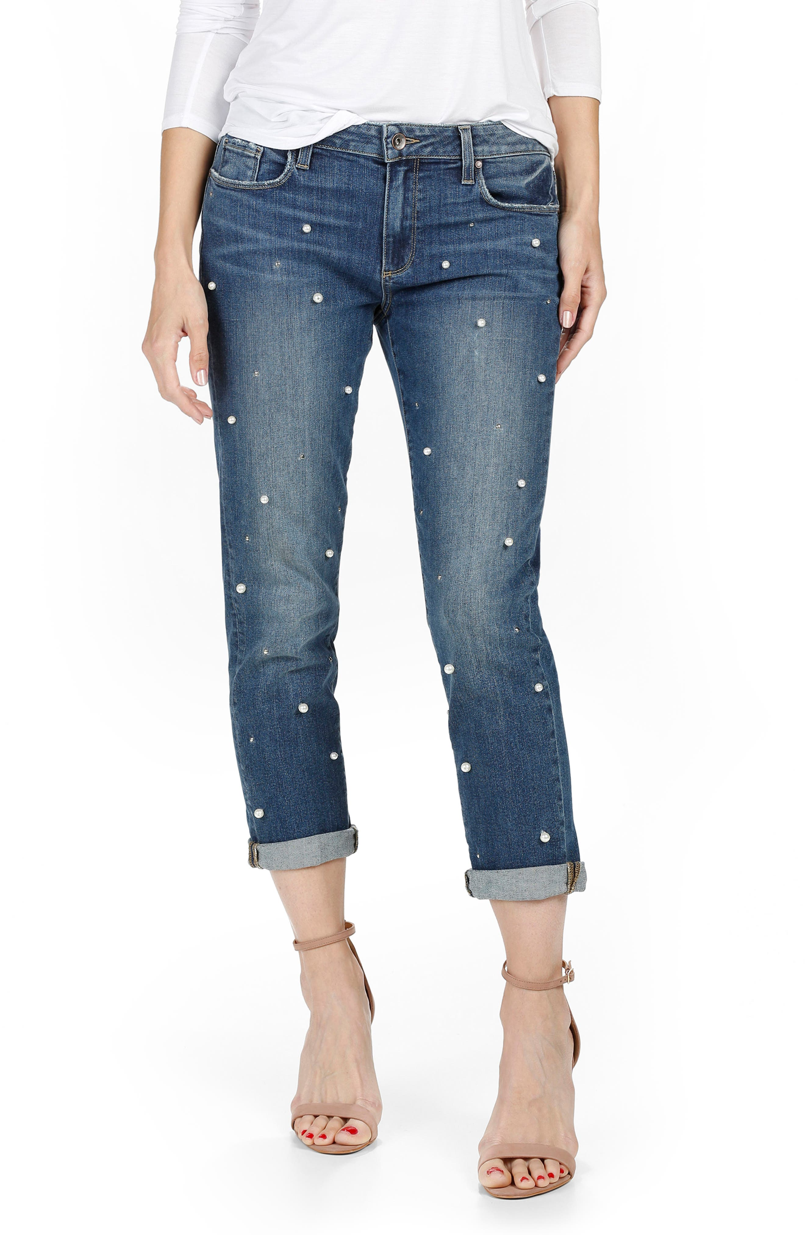 PAIGE Bridgette Crop Boyfriend Jeans (All Over Pearl)