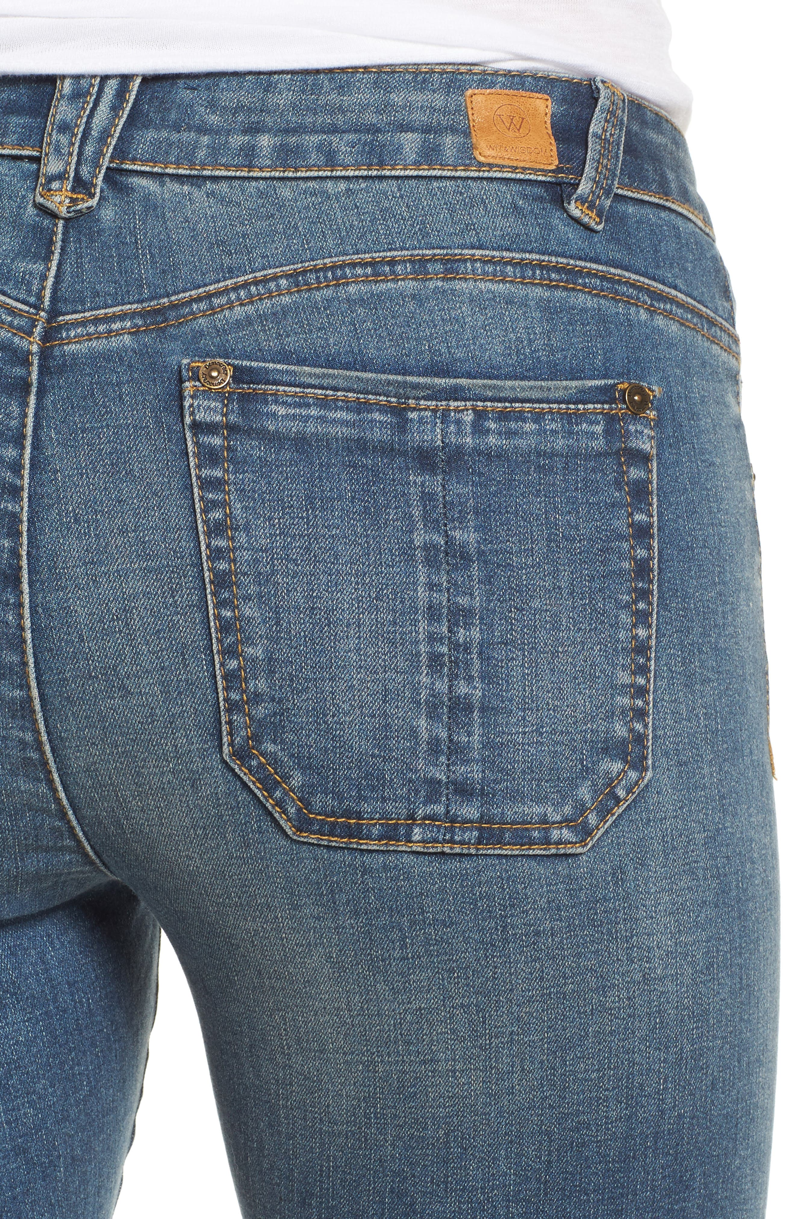 Ripped Seamless Ankle Jeans,                             Alternate thumbnail 4, color,                             Blue