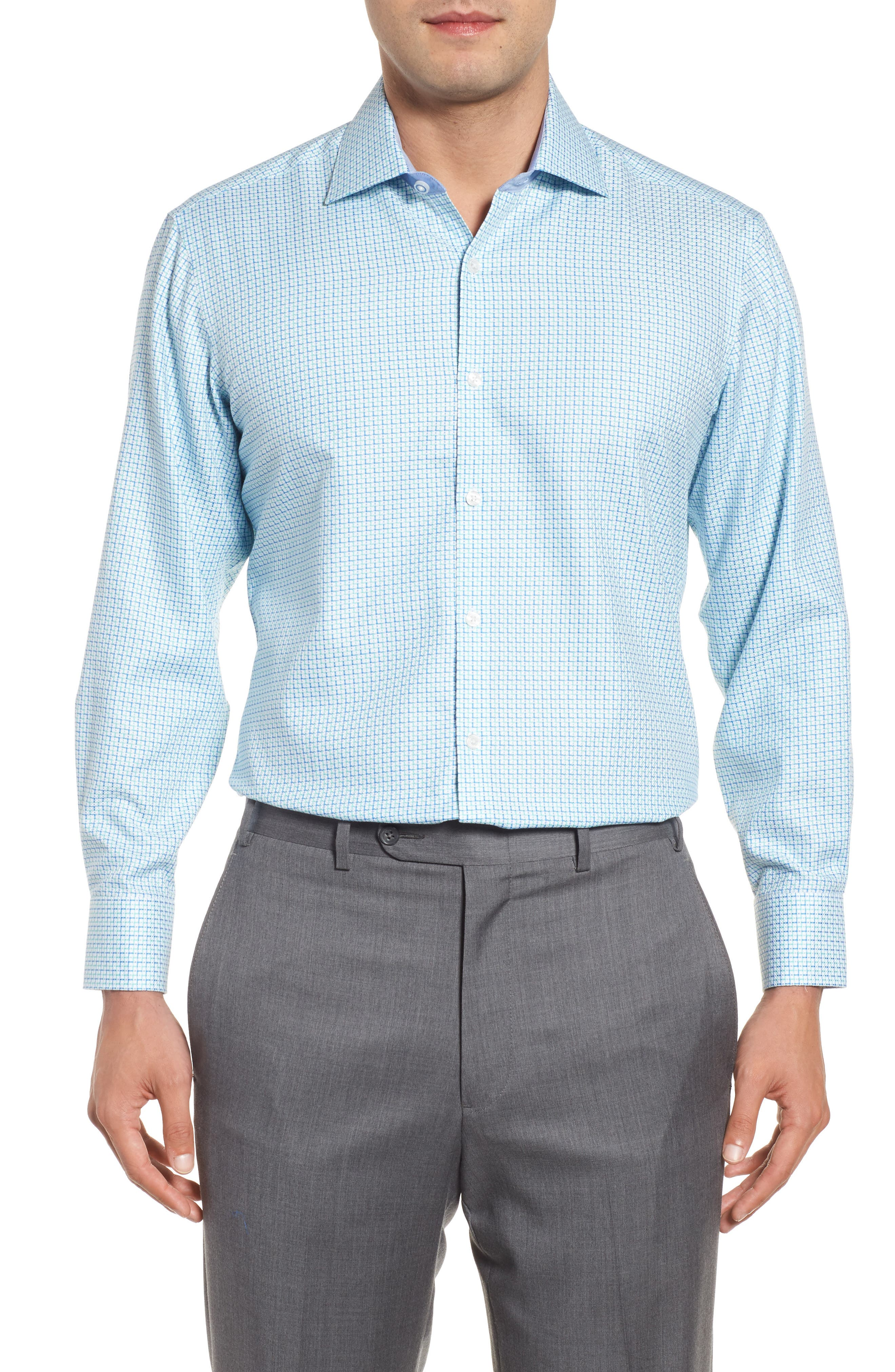 Main Image - TailorByrd Trim Fit Geometric Dress Shirt