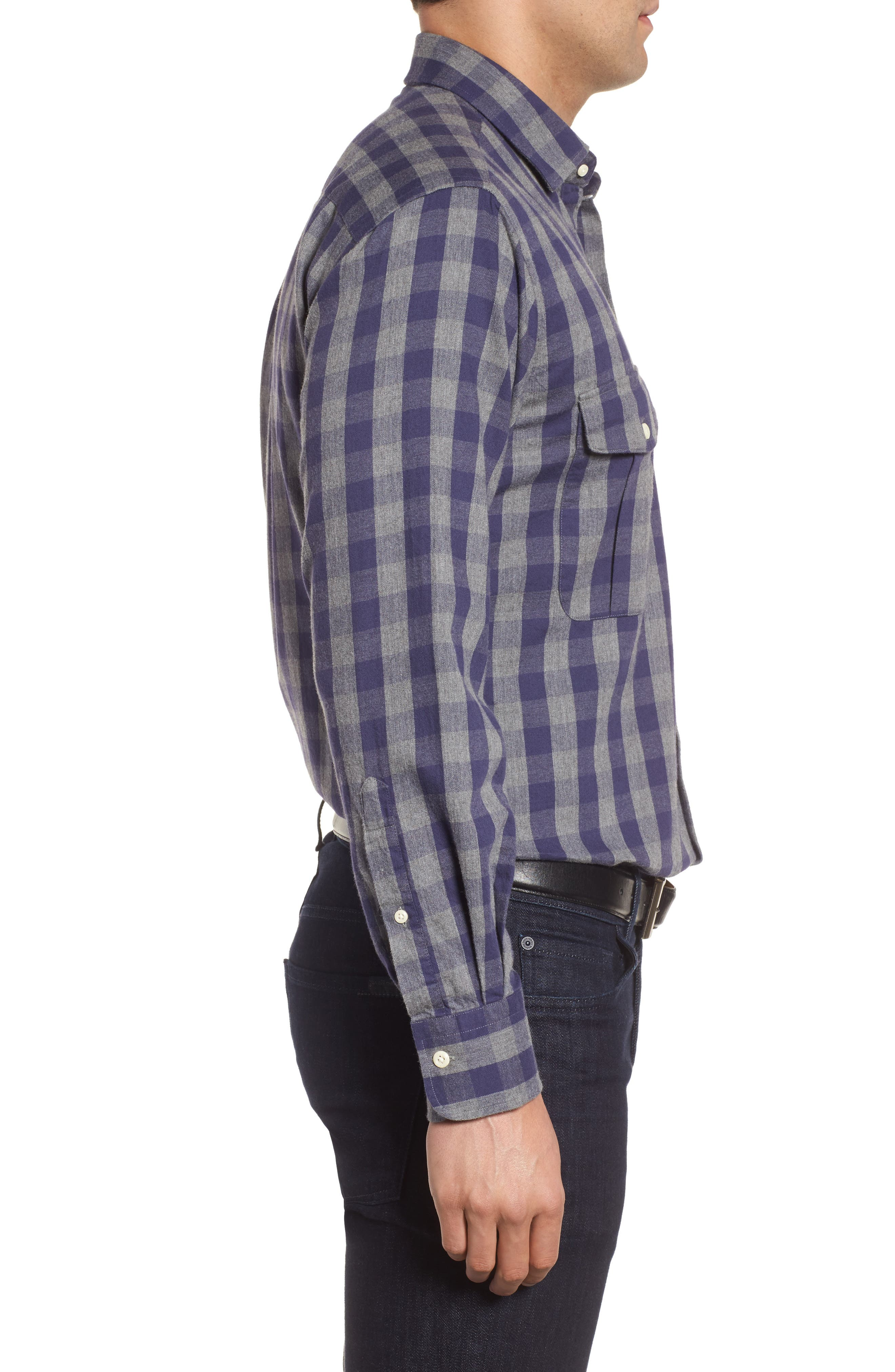 Buffalo Buddy Regular Fit Check Sport Shirt,                             Alternate thumbnail 3, color,                             Atlantic Blue