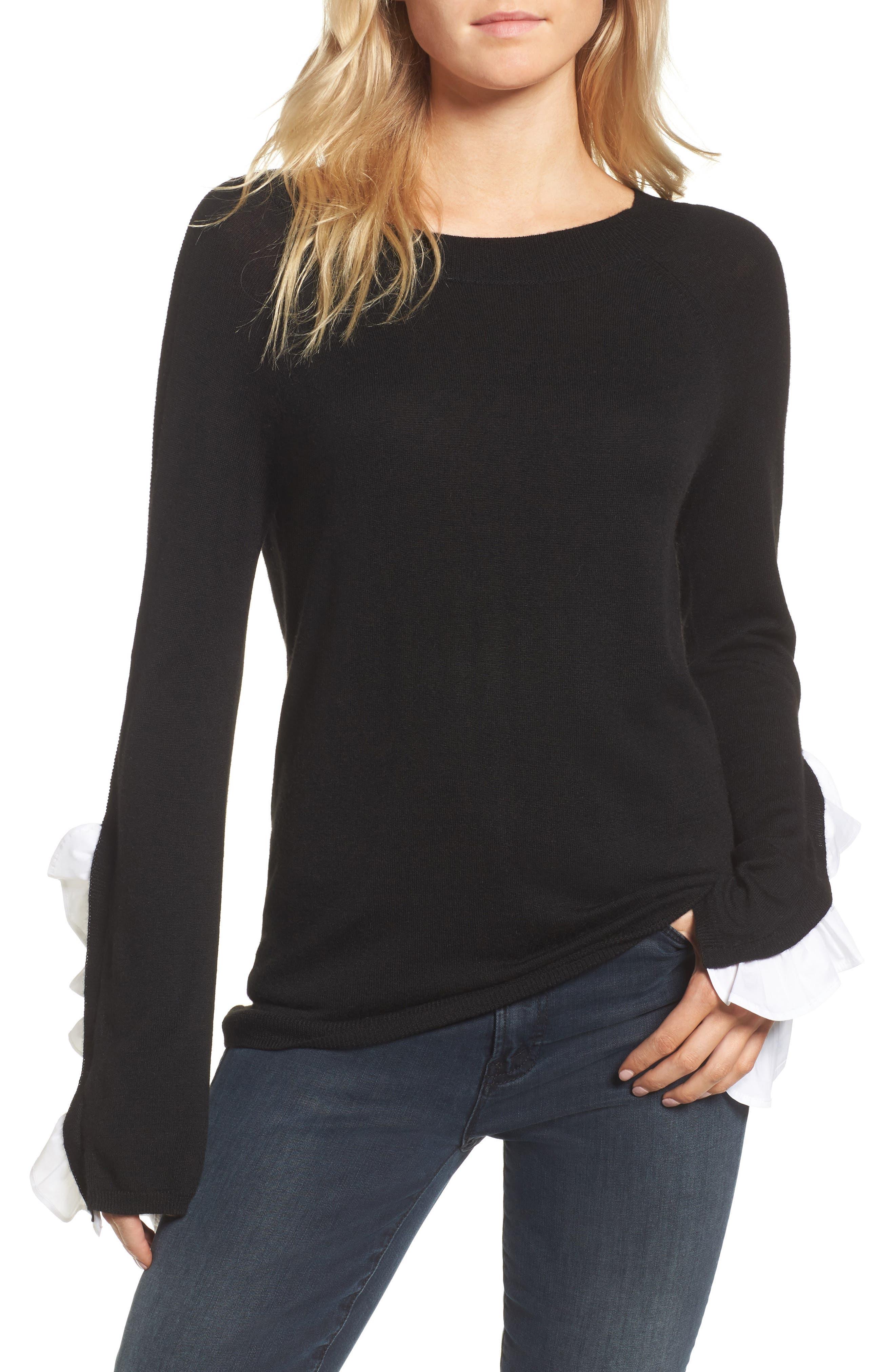 Ruffle Sleeve Sweater,                         Main,                         color, Black