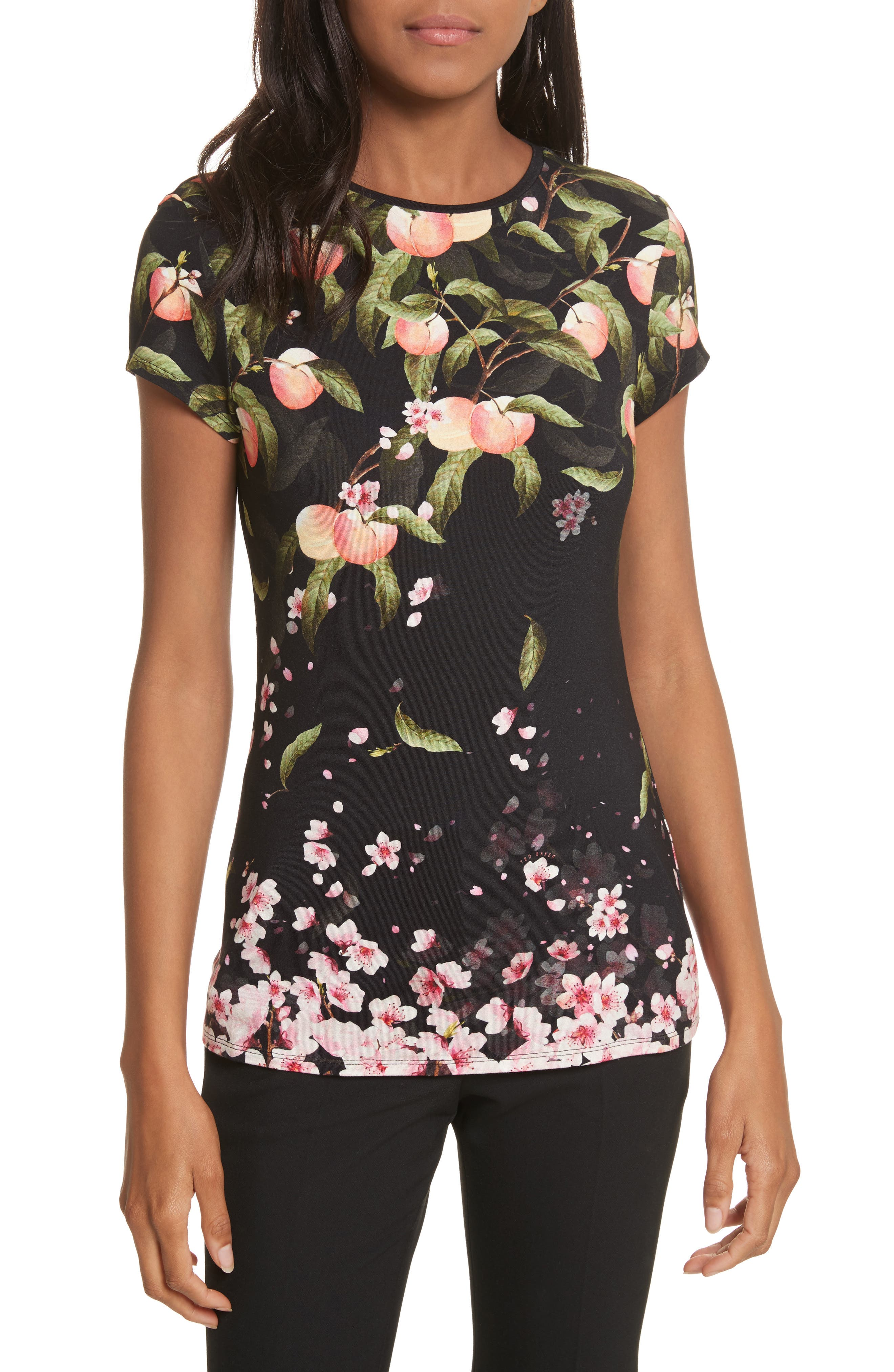 Peach Blossom Fitted Tee,                         Main,                         color, Black