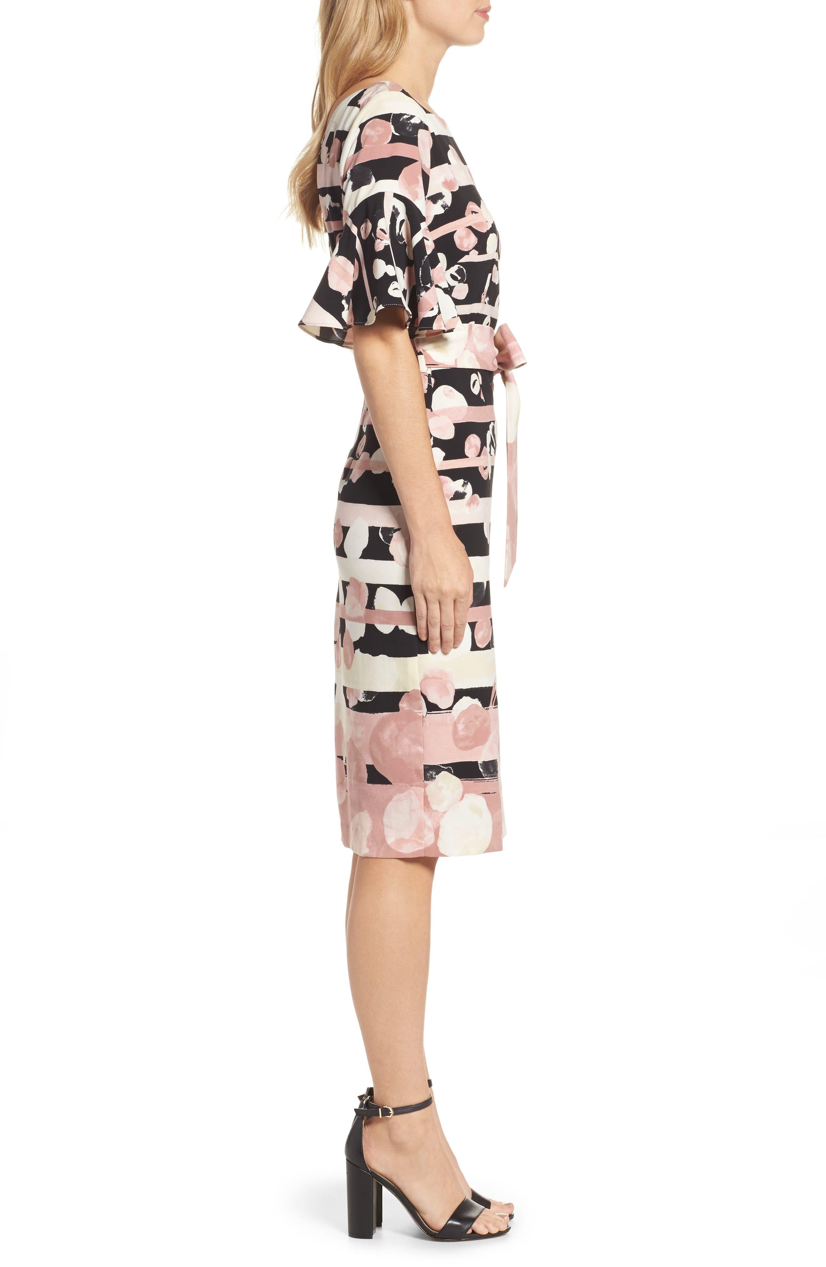 Stripe Sheath Dress,                             Alternate thumbnail 3, color,                             Blush/ Ivory