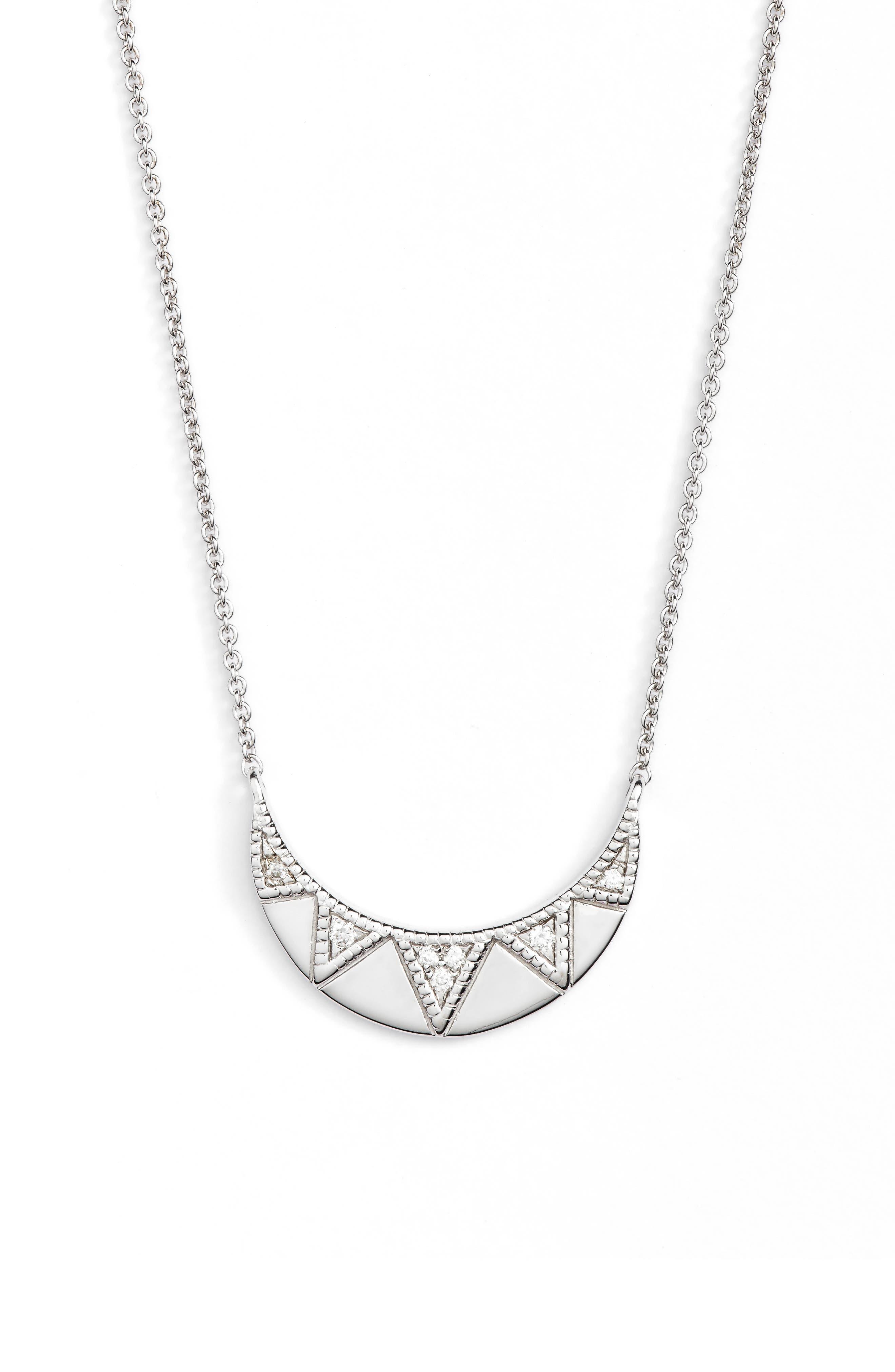 Jeanie Ann Diamond Pendant Necklace,                             Main thumbnail 1, color,                             White Gold