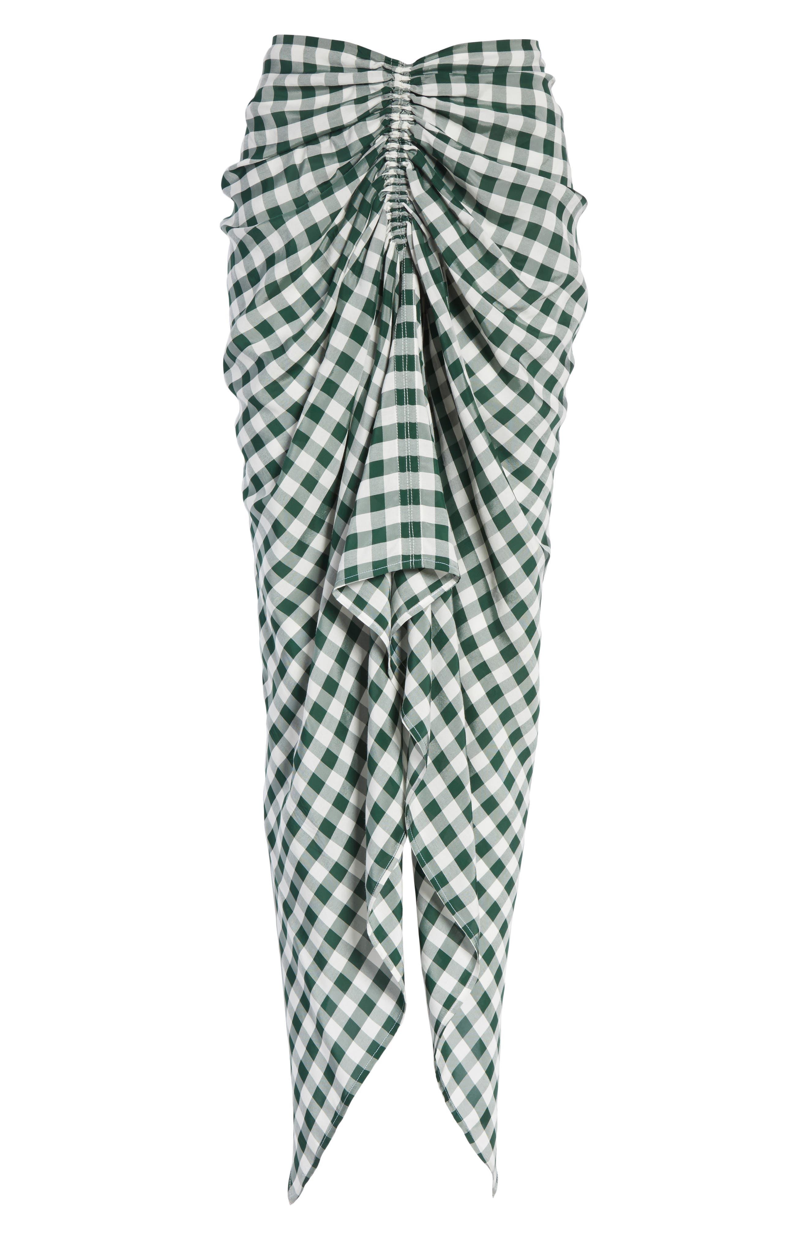 Roman Gingham Jacquard Skirt,                             Alternate thumbnail 6, color,                             Emerald