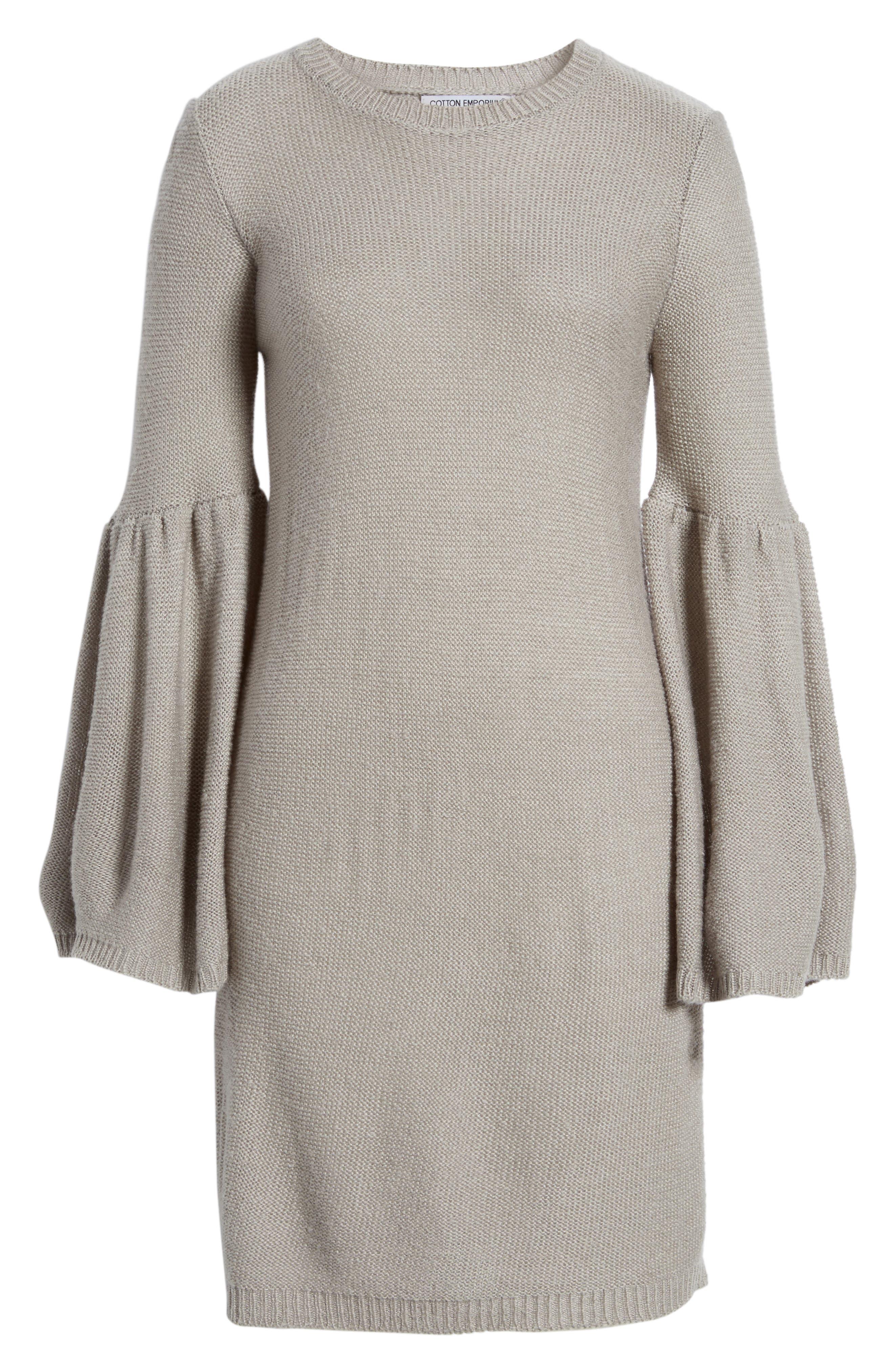 Alternate Image 6  - Cotton Emporium Bell Sleeve Sweater Dress