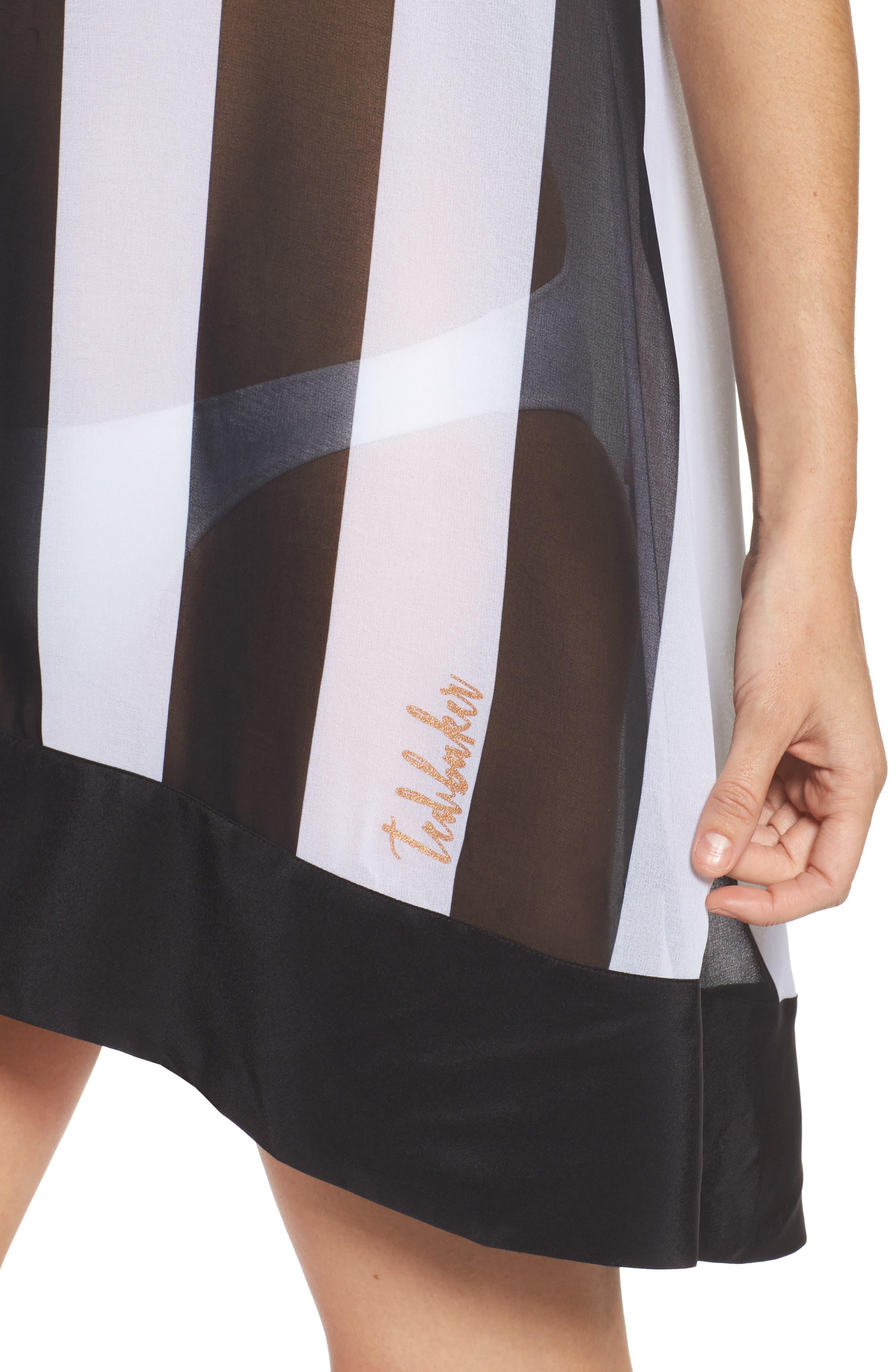 Monochrome Stripe Cover-Up Dress,                             Alternate thumbnail 4, color,                             Black