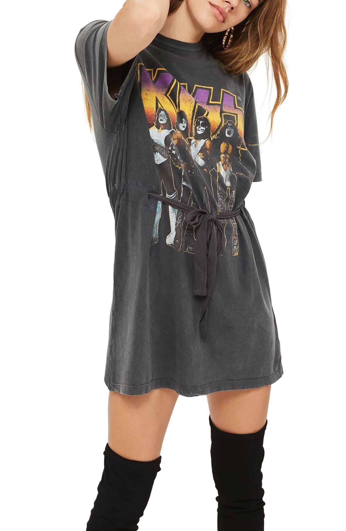 Kiss Graphic Belted Tunic Dress,                             Main thumbnail 1, color,                             Charcoal Multi