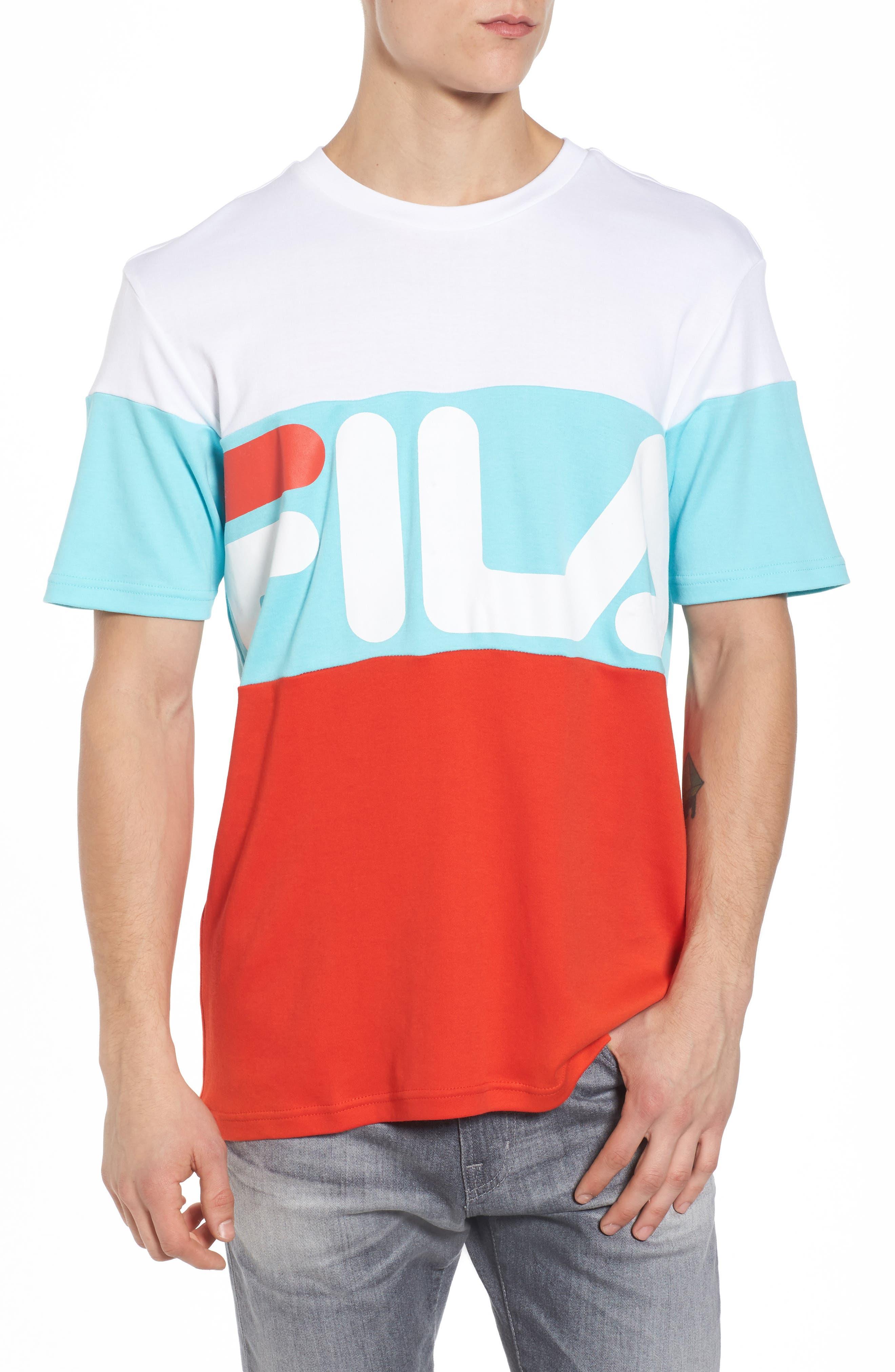 Vialli Colorblock Logo T-Shirt,                         Main,                         color, White/ Scarlet