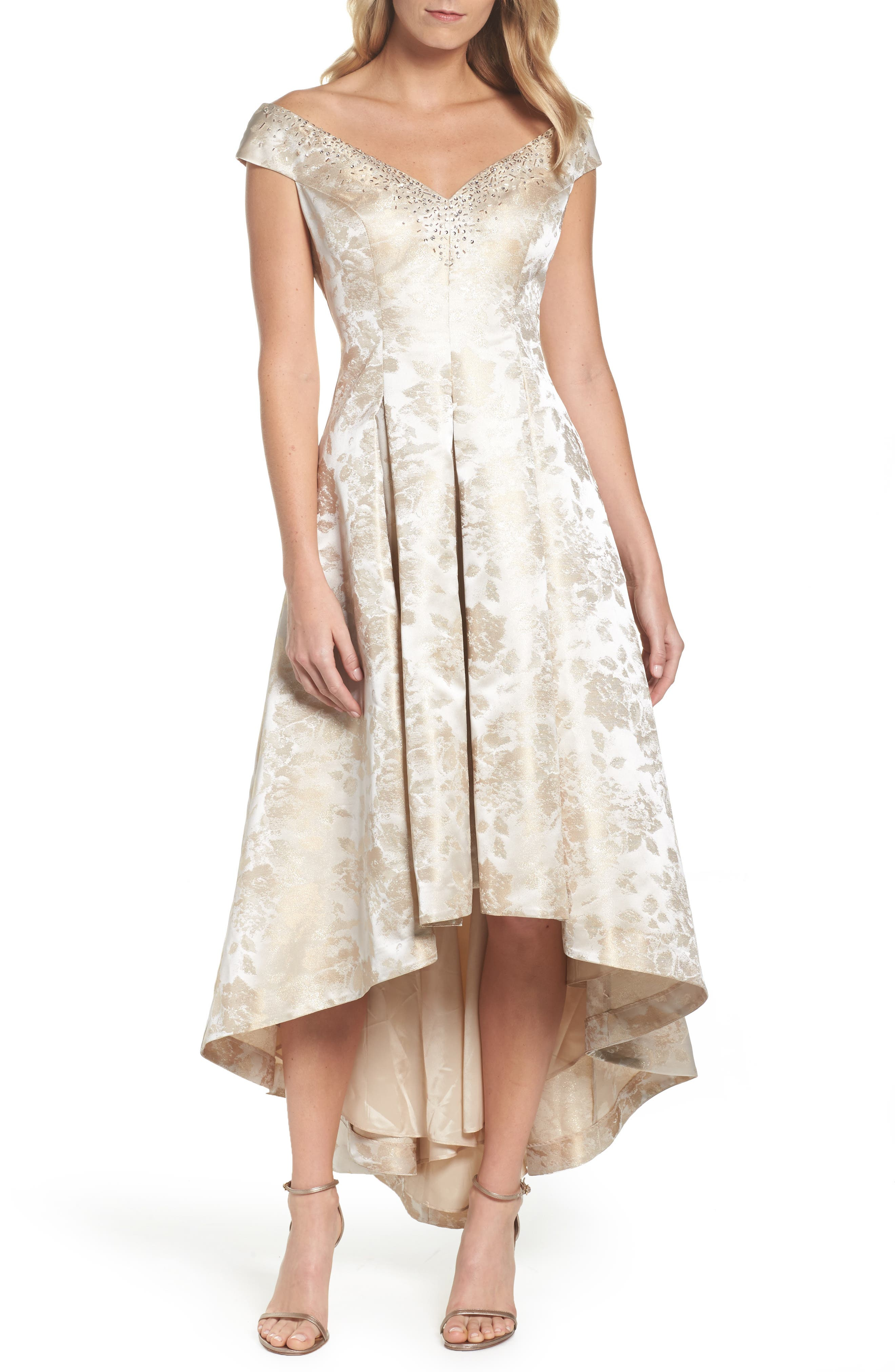 Off the Shoulder High/Low Gown,                         Main,                         color, Champagne
