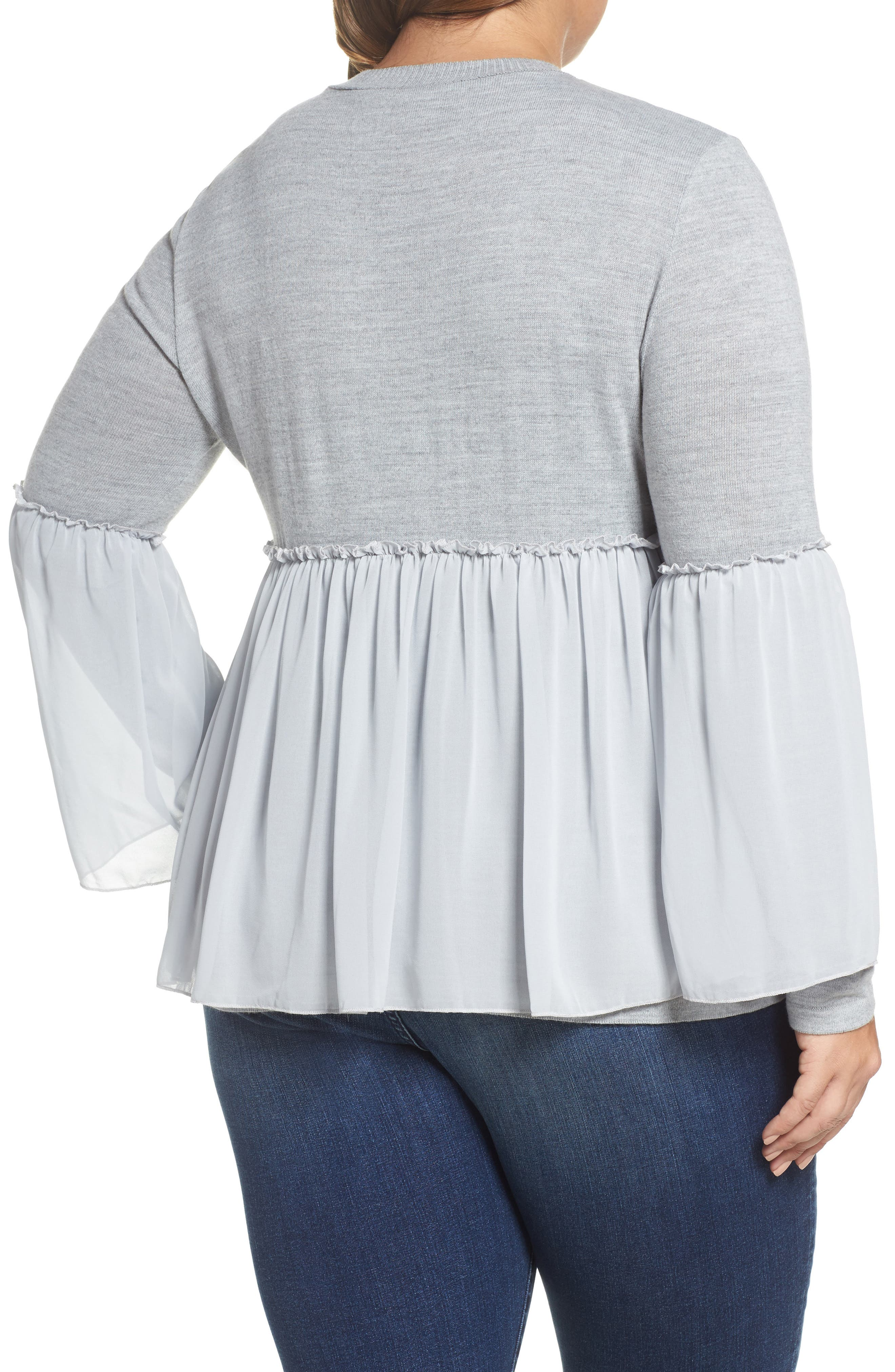 Smocked Chiffon Contrast Sweater,                             Alternate thumbnail 2, color,                             Grey