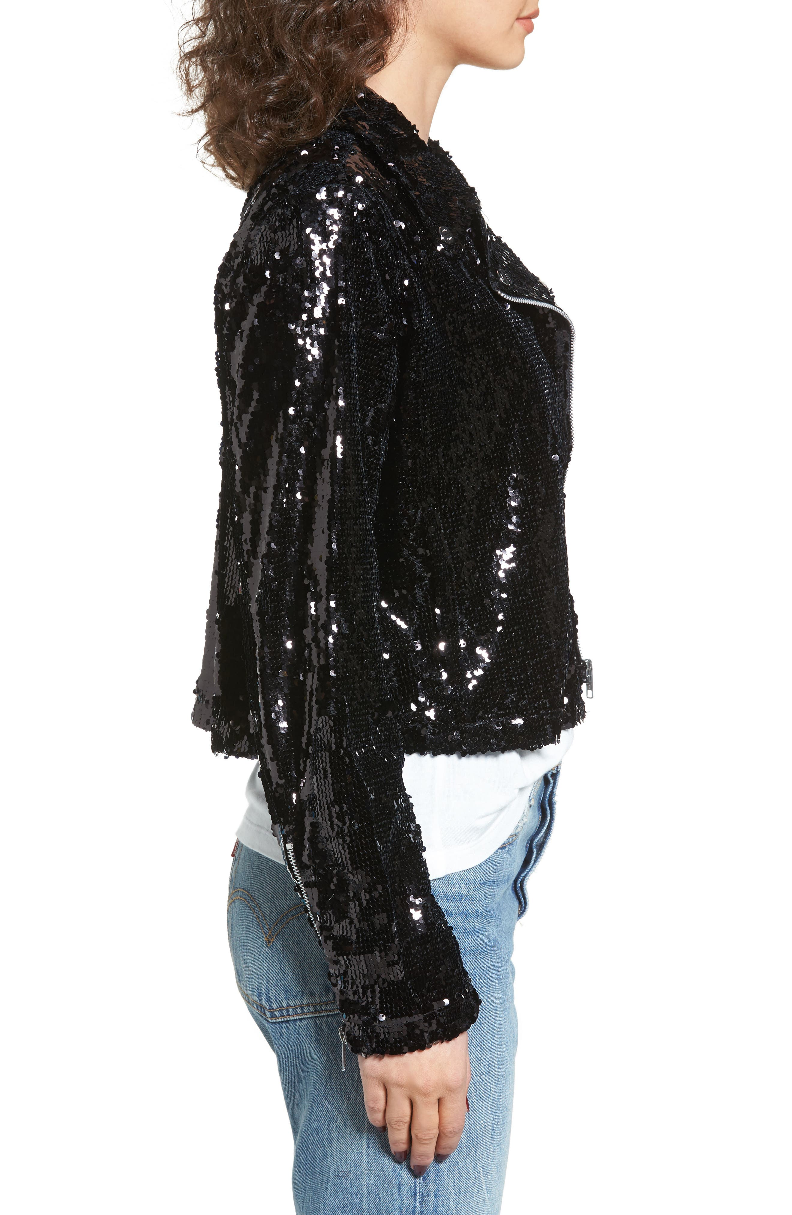 Bigby Sequin Moto Jacket,                             Alternate thumbnail 3, color,                             Black