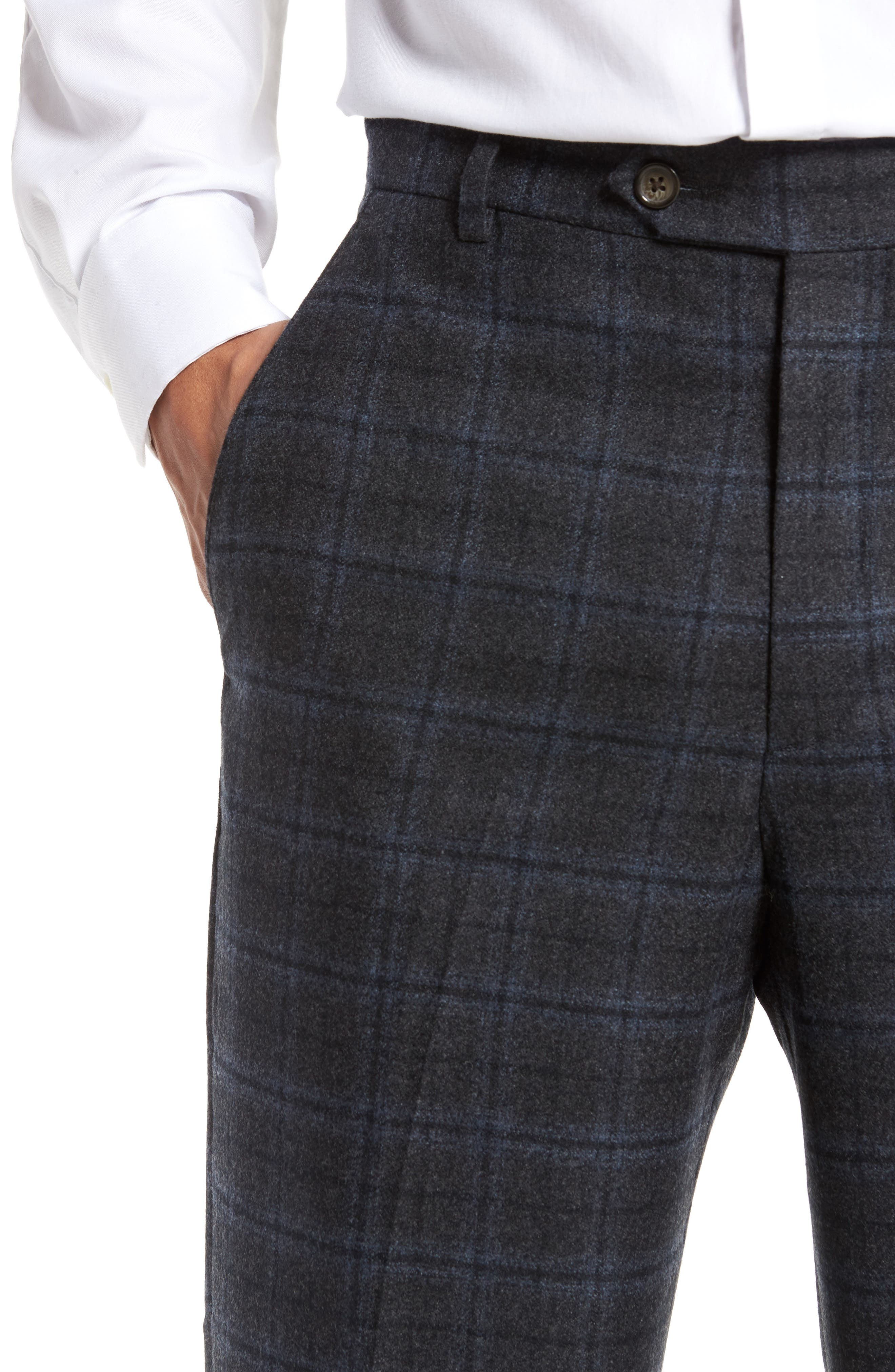 Alternate Image 4  - Berle Flat Front Windowpane Wool Trousers