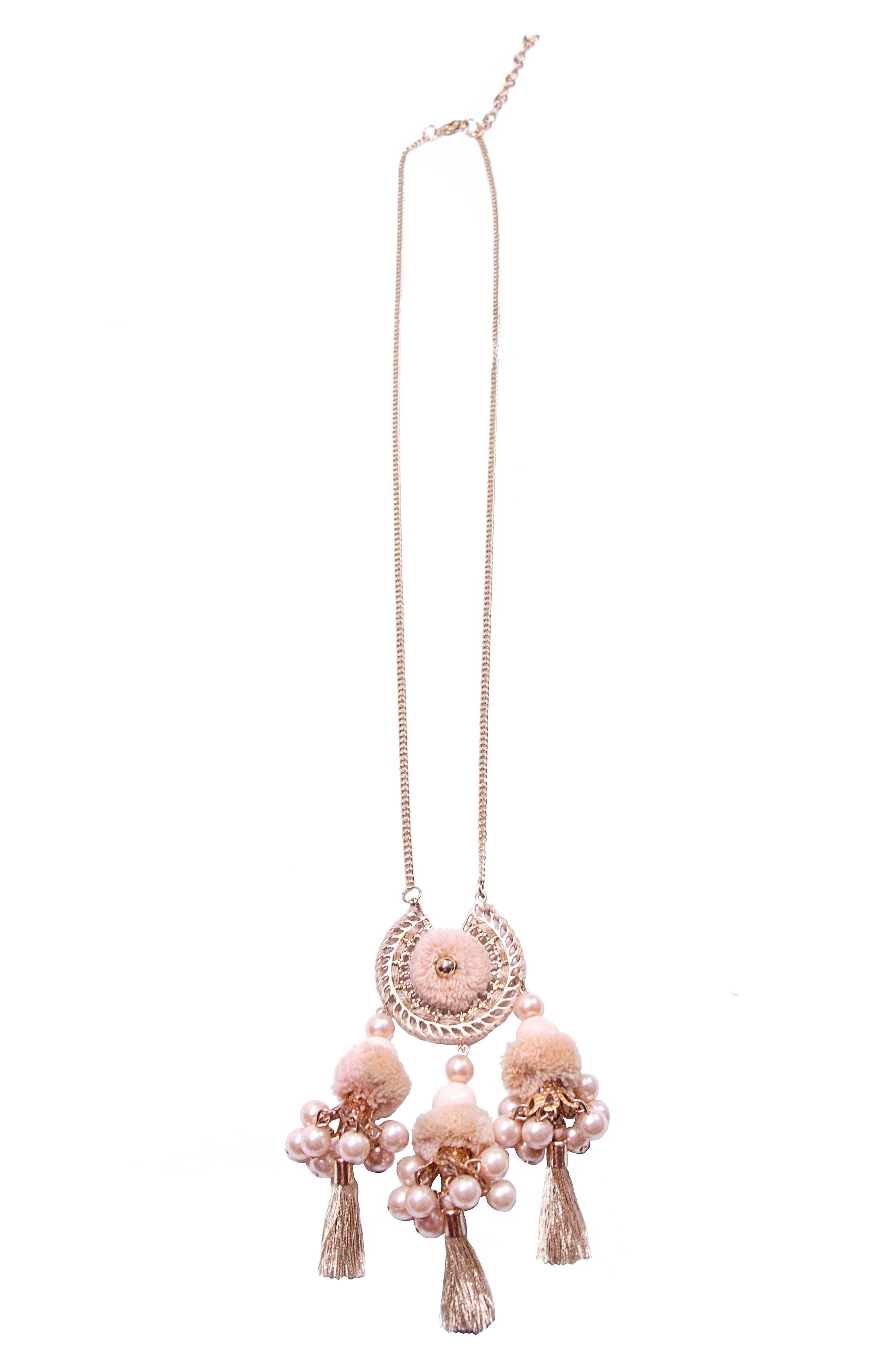Reena Ball Tassel Necklace,                             Main thumbnail 1, color,                             Gold
