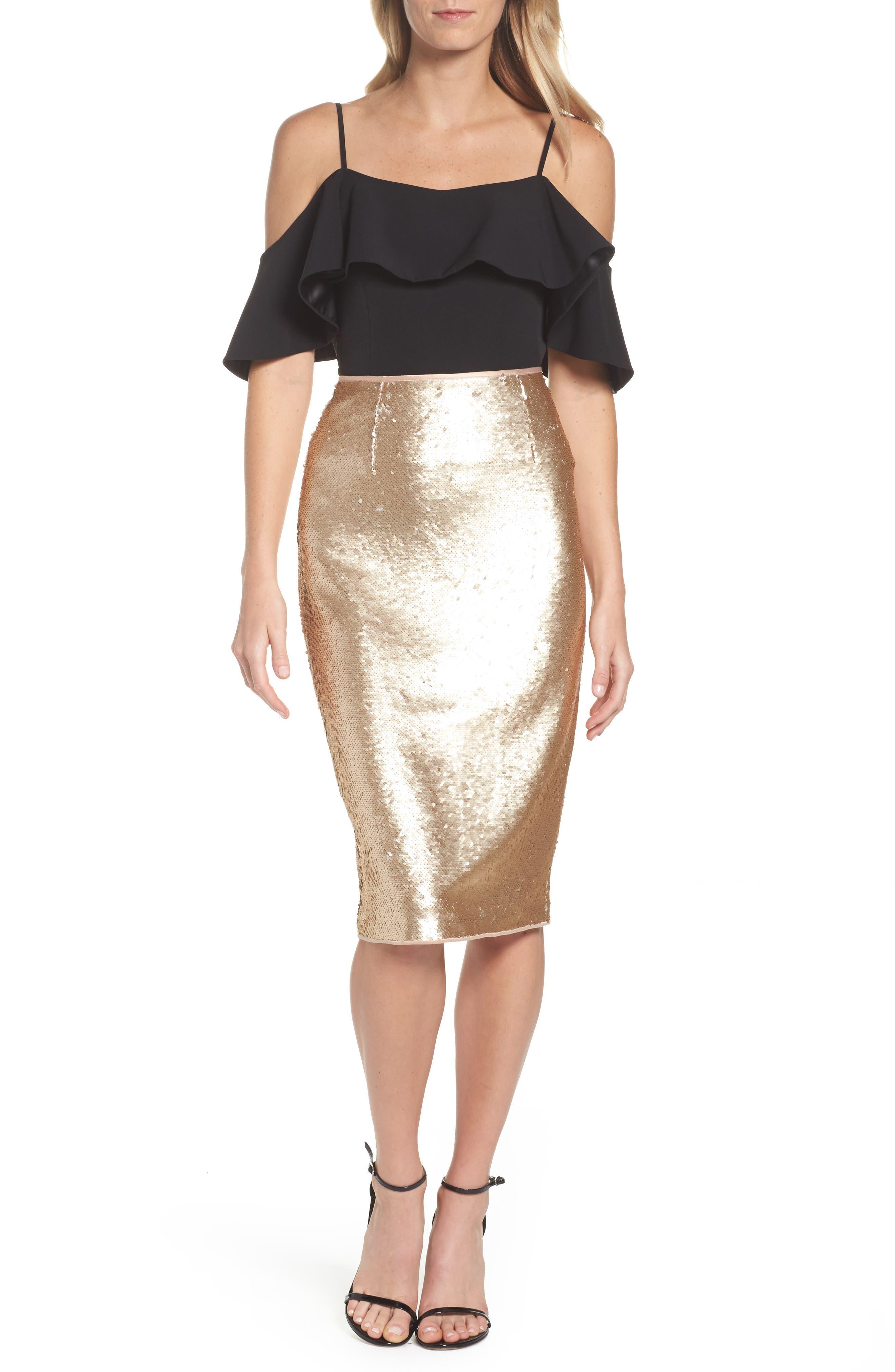 Paillette Pencil Skirt,                             Alternate thumbnail 2, color,                             Gold