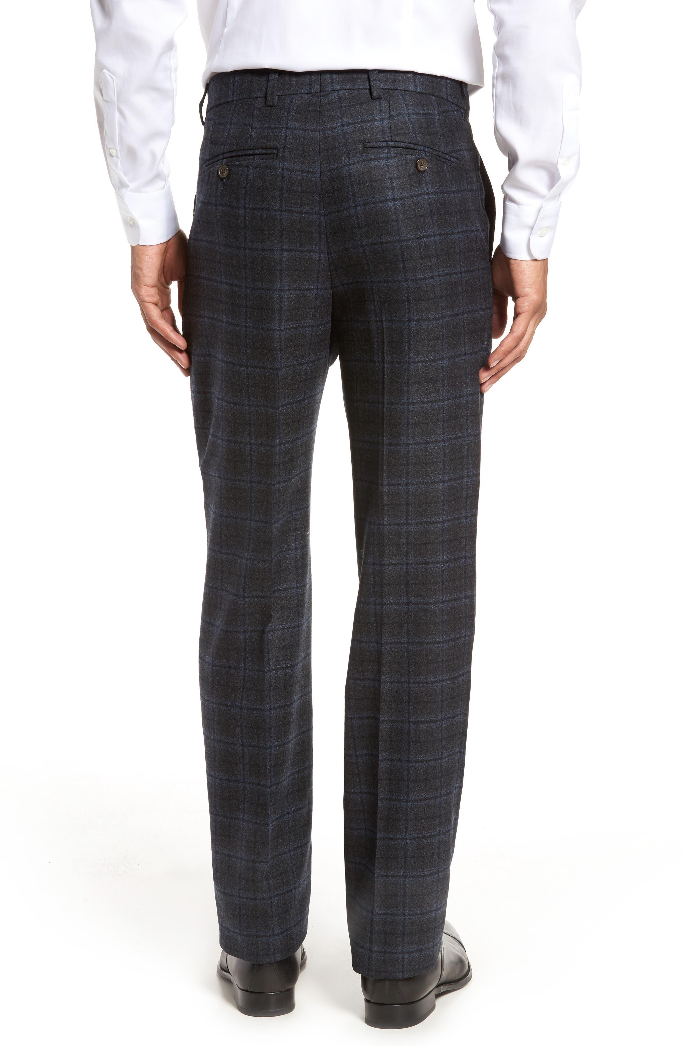 Alternate Image 2  - Berle Flat Front Windowpane Wool Trousers