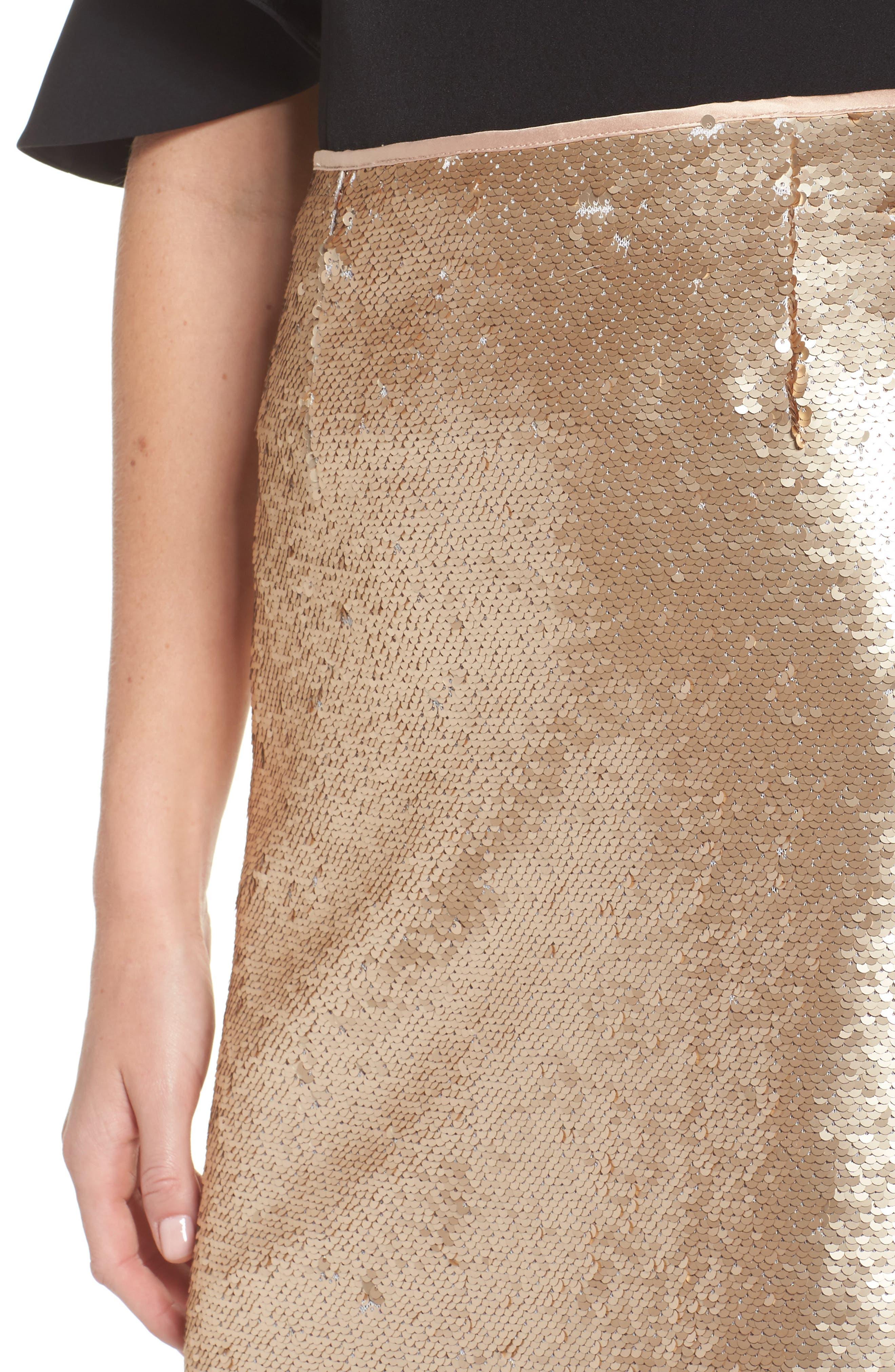 Paillette Pencil Skirt,                             Alternate thumbnail 5, color,                             Gold