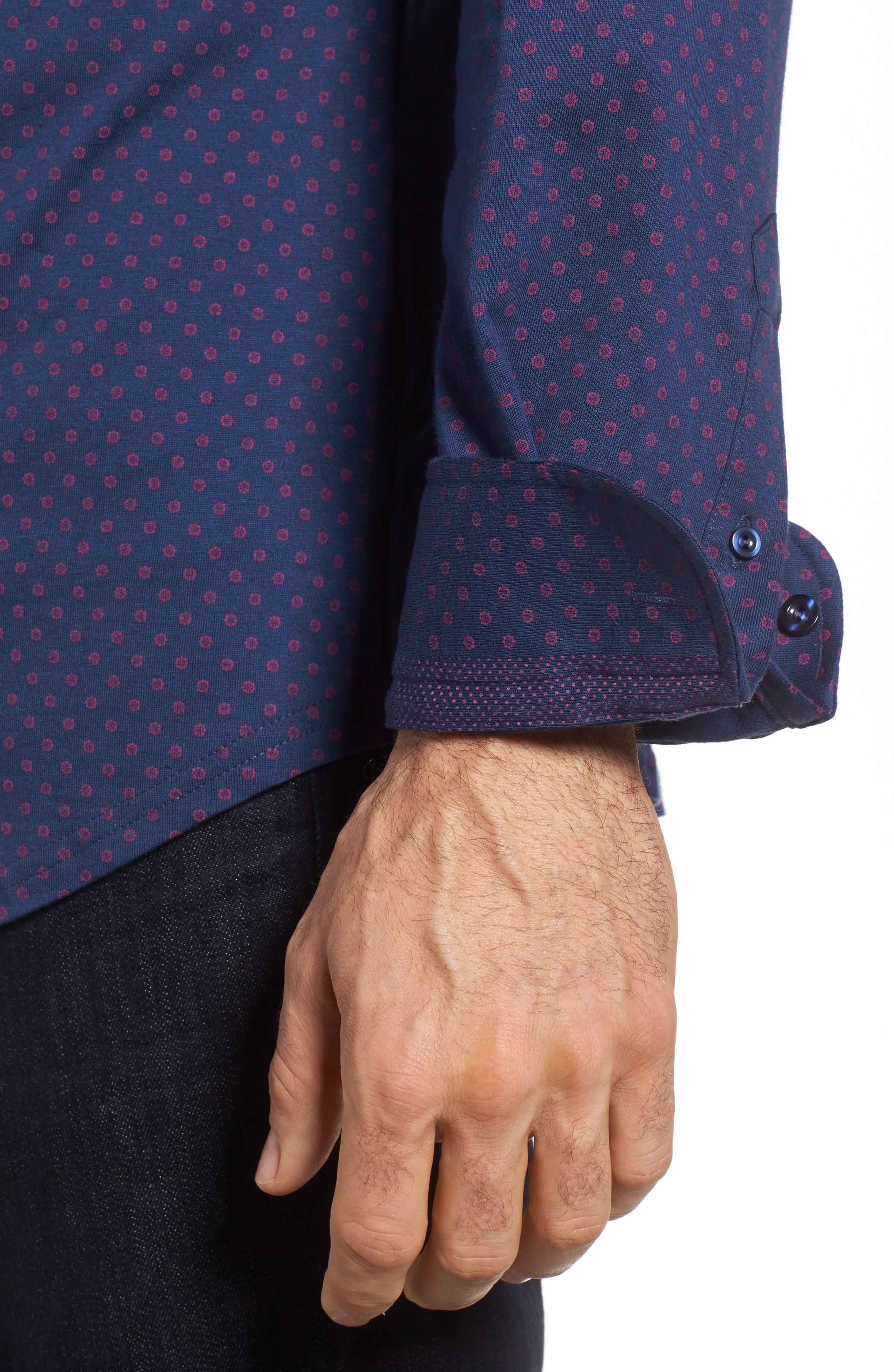 Ship Wheel Knit Sport Shirt,                             Alternate thumbnail 4, color,                             Navy