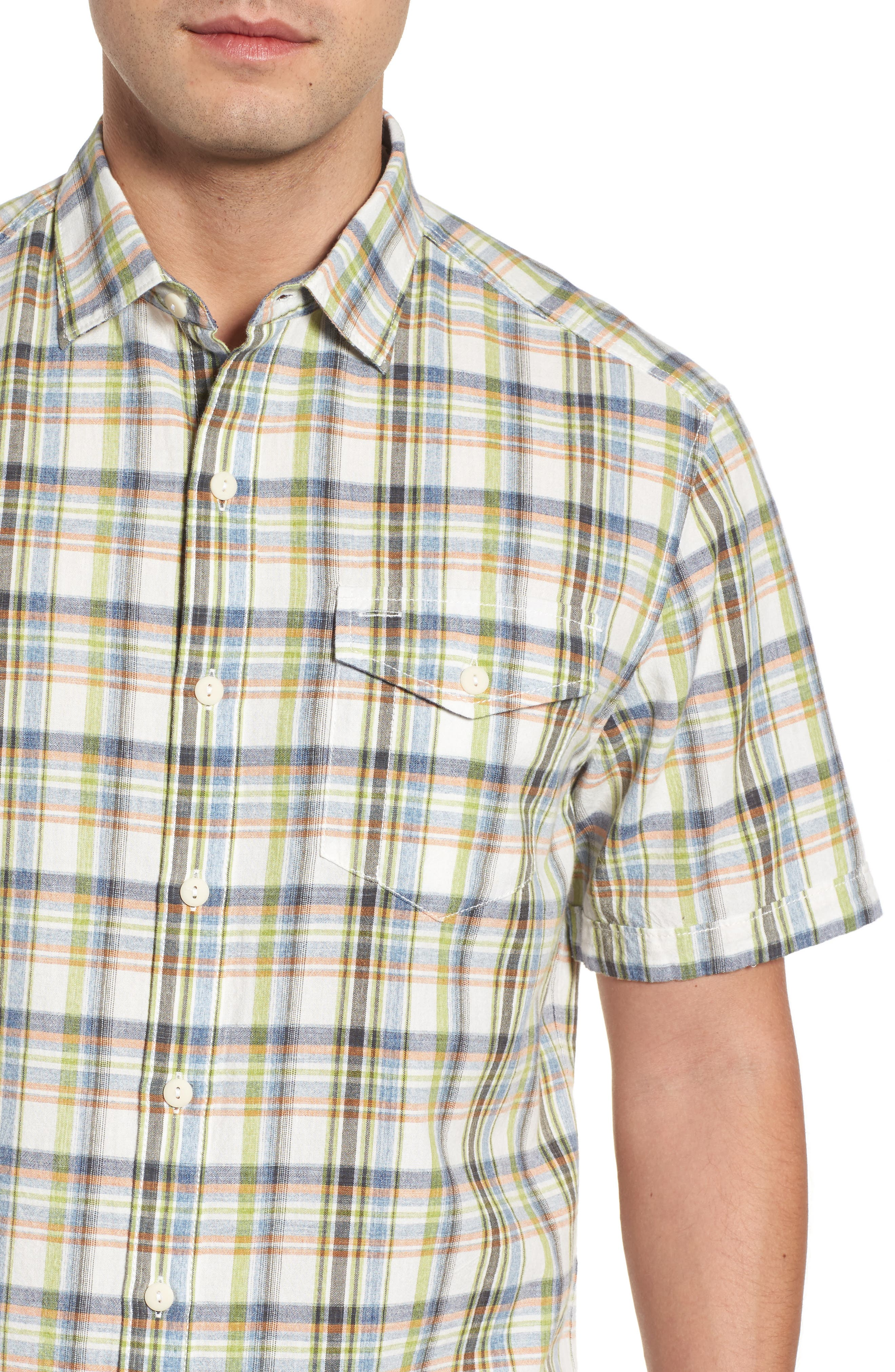 Ocean Cay Plaid Sport Shirt,                             Alternate thumbnail 4, color,                             Tart Apple