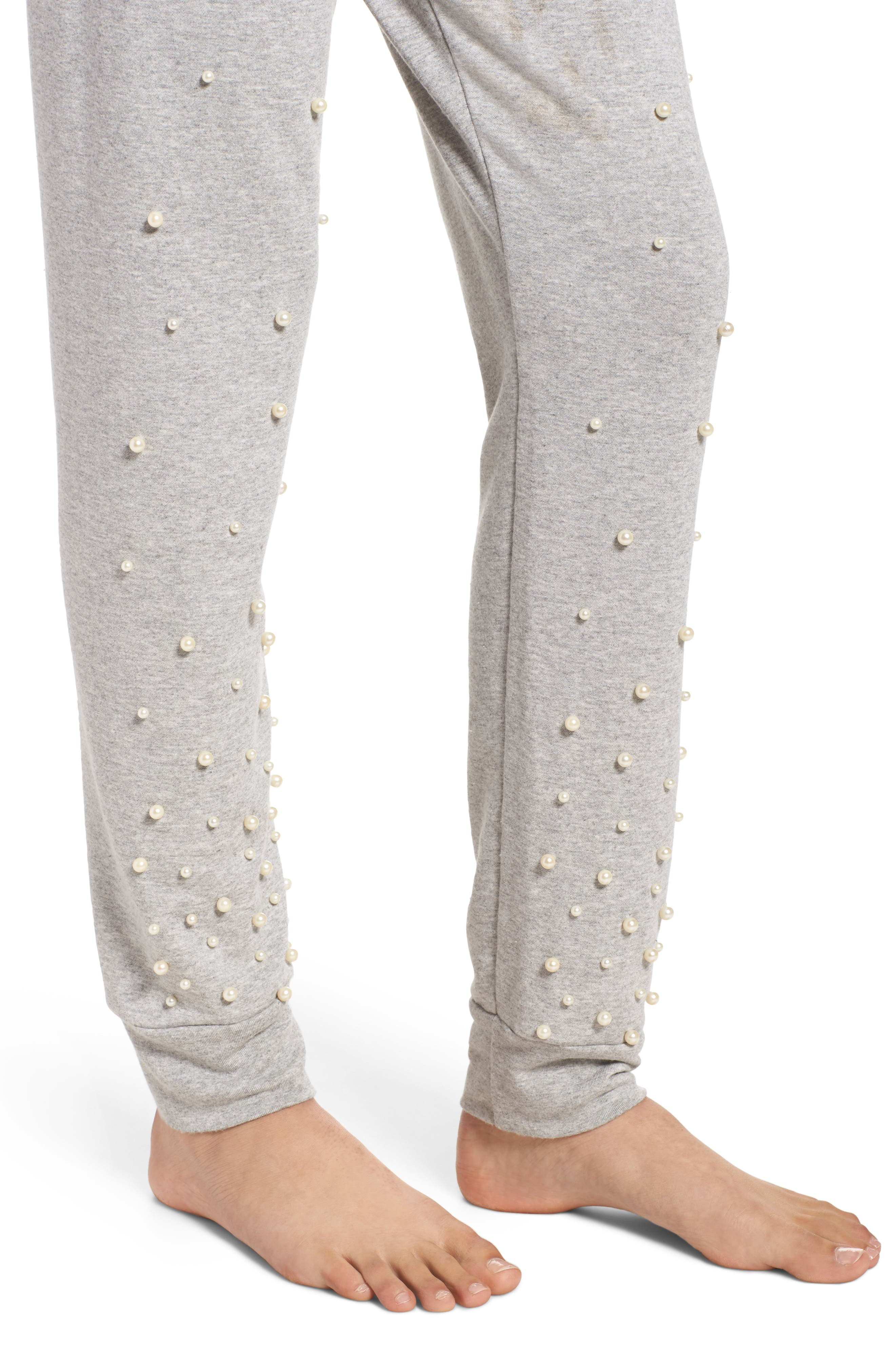 Price Imitation Pearl Embellished Lounge Pants,                             Alternate thumbnail 5, color,                             Heather Grey
