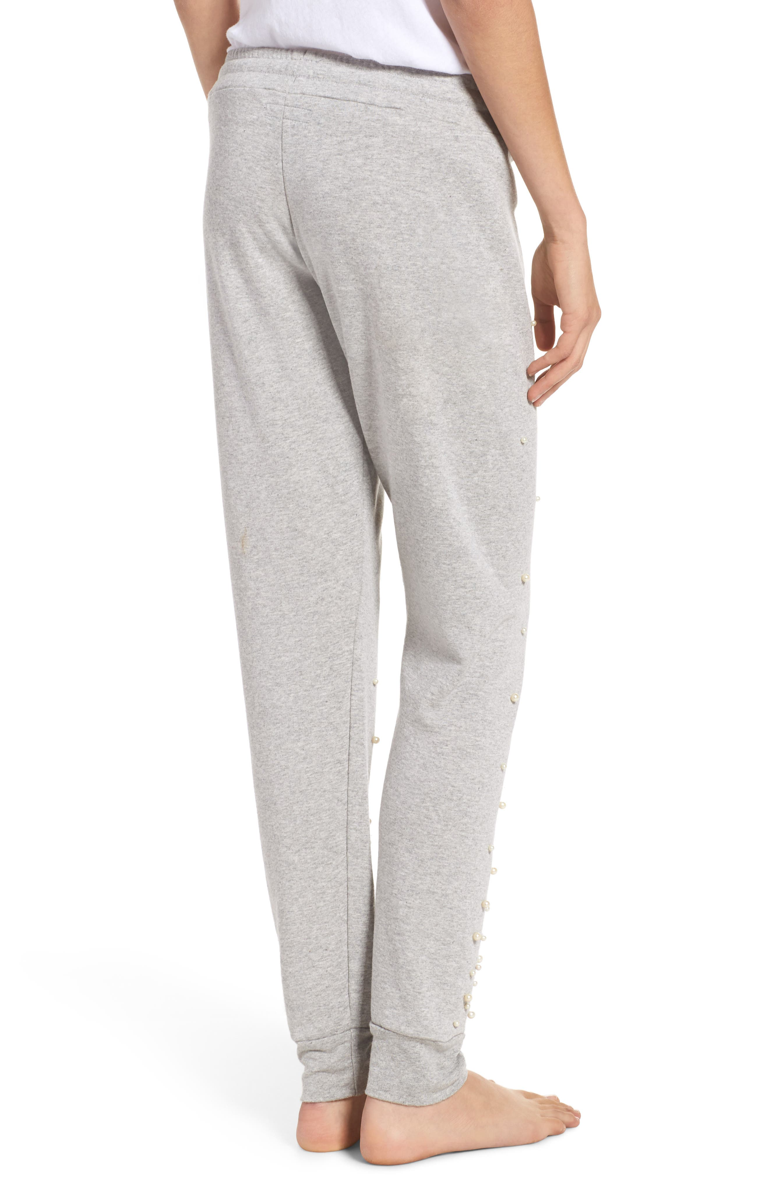 Price Imitation Pearl Embellished Lounge Pants,                             Alternate thumbnail 2, color,                             Heather Grey