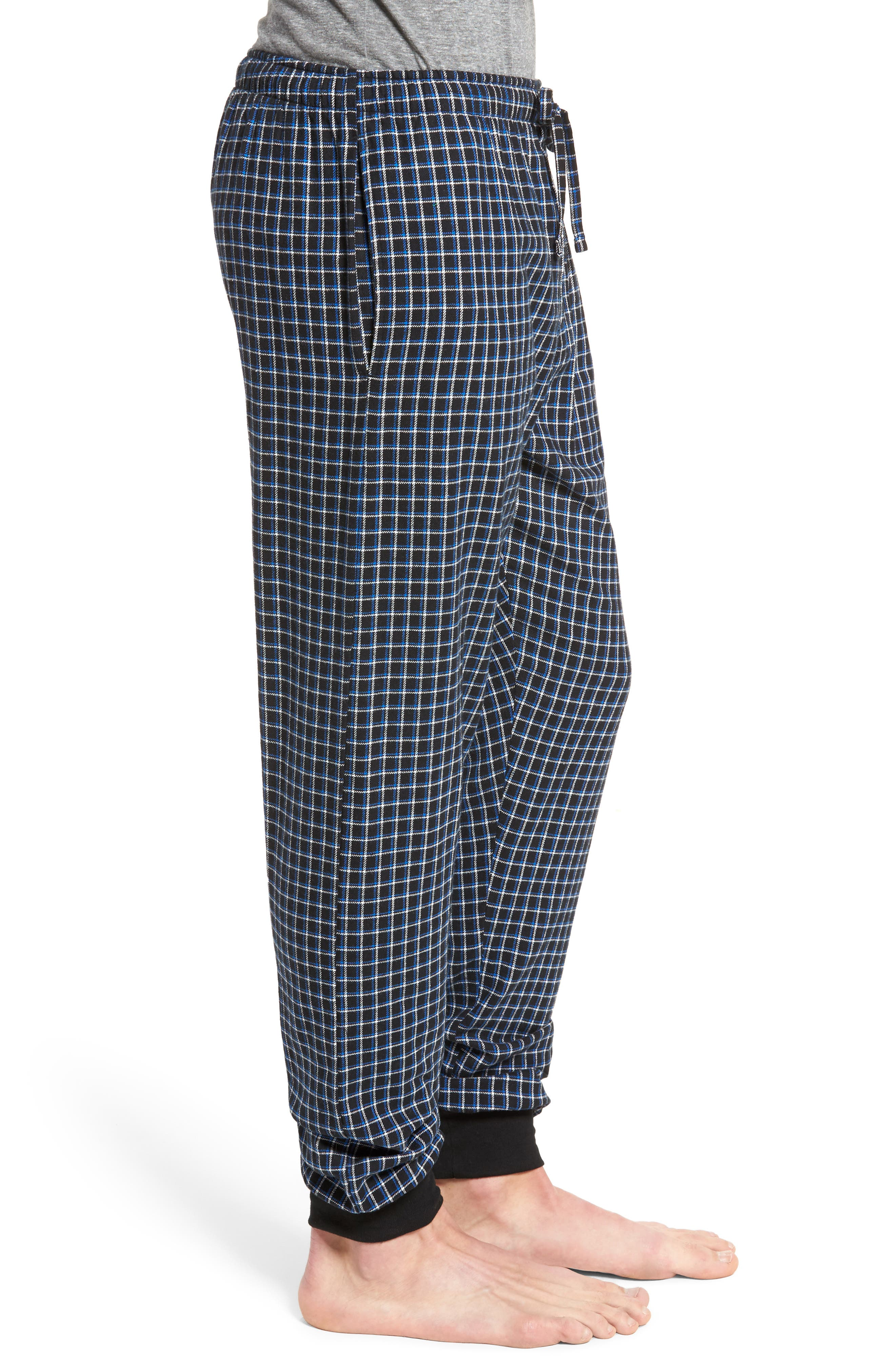 Flannel Pajama Jogger Pants,                             Alternate thumbnail 3, color,                             Logan Plaid/ Crescent Cream