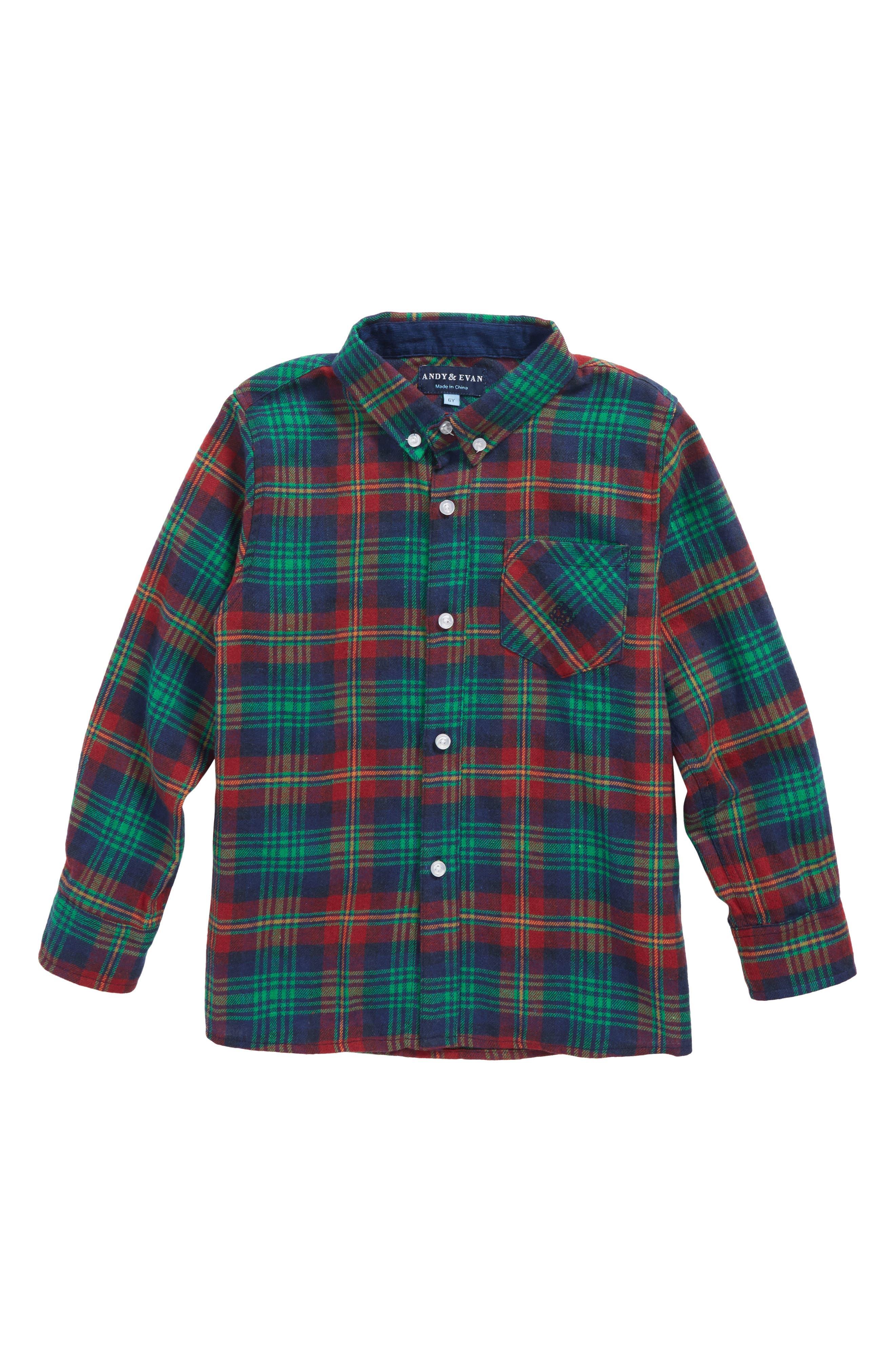 Plaid Woven Shirt,                             Main thumbnail 1, color,                             Navy/ Red/ Green