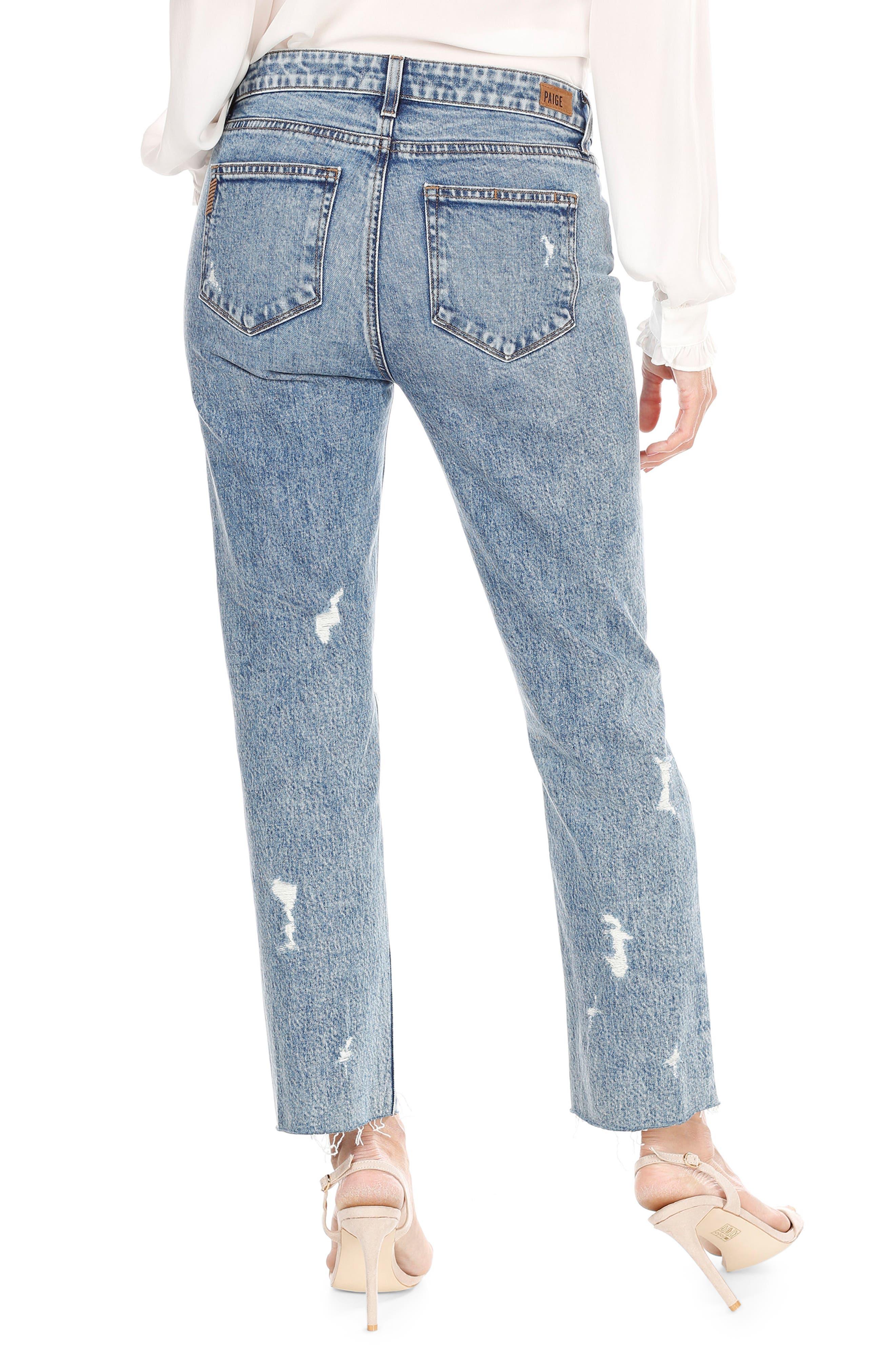 Noella Straight Leg Crop Jeans,                             Alternate thumbnail 3, color,                             Westlyn Destructed