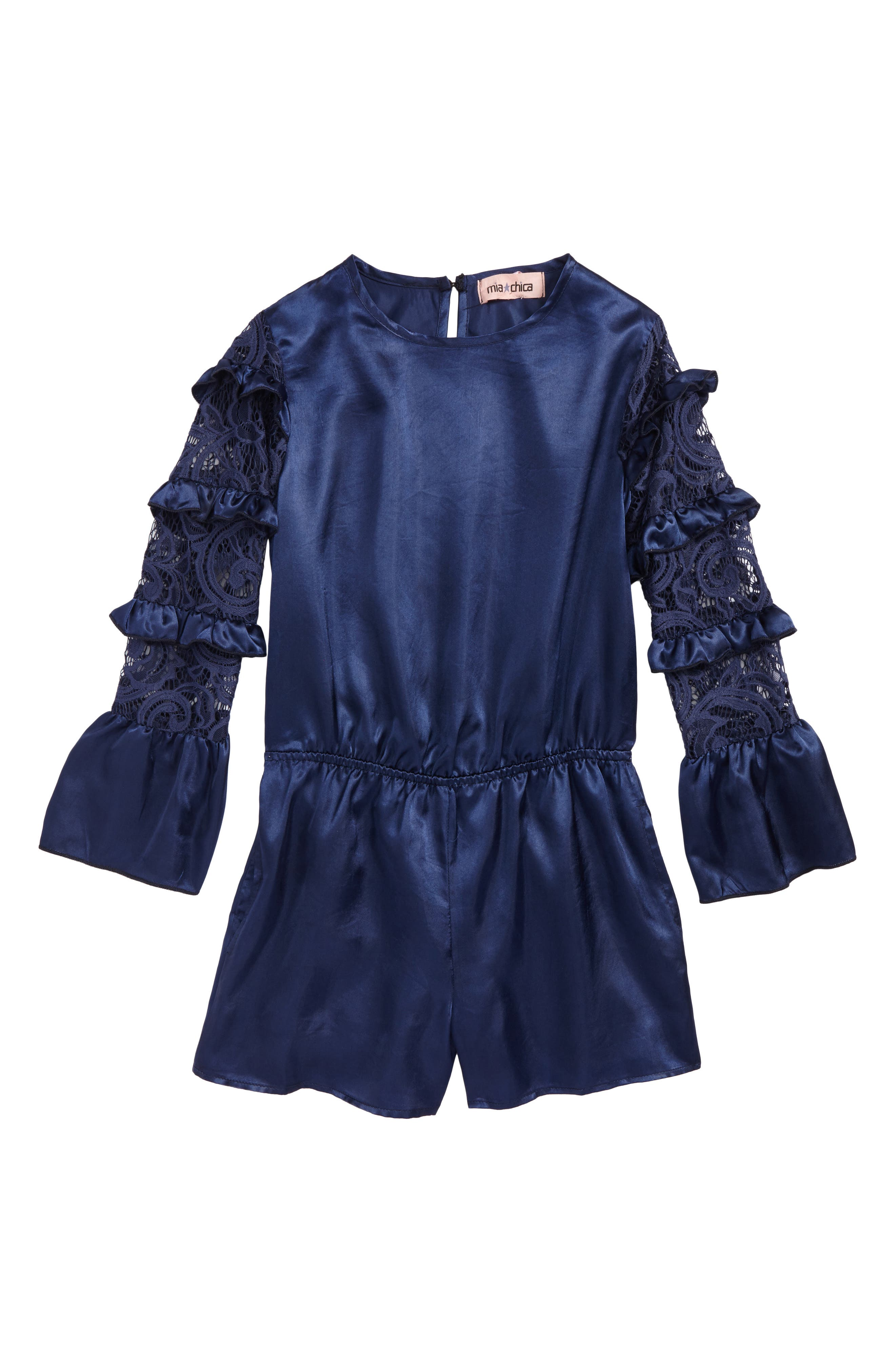 Lace Sleeve Satin Romper,                         Main,                         color, Navy