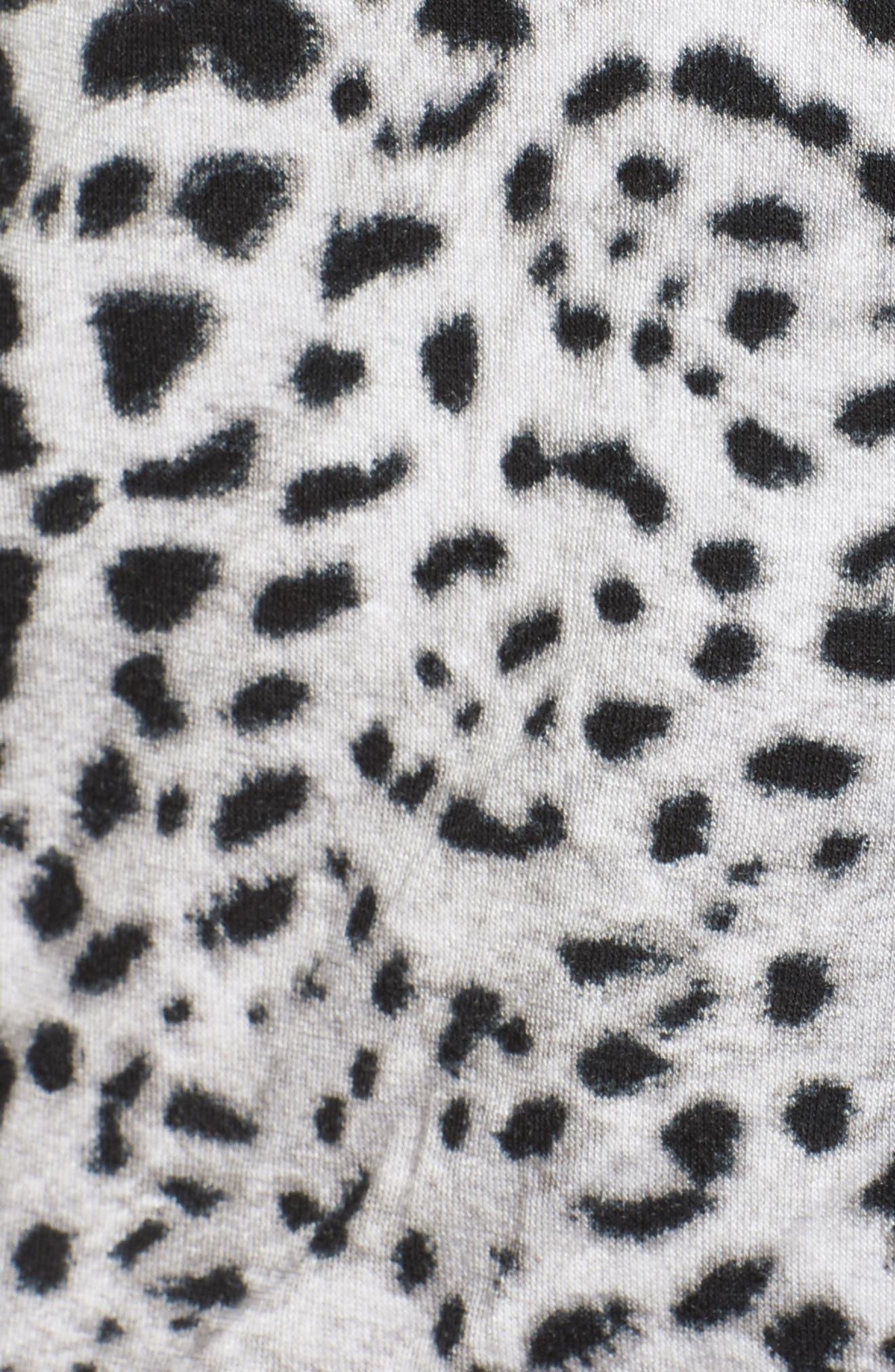 Notch Collar Short Pajamas,                             Alternate thumbnail 5, color,                             Silky Leopard Grey