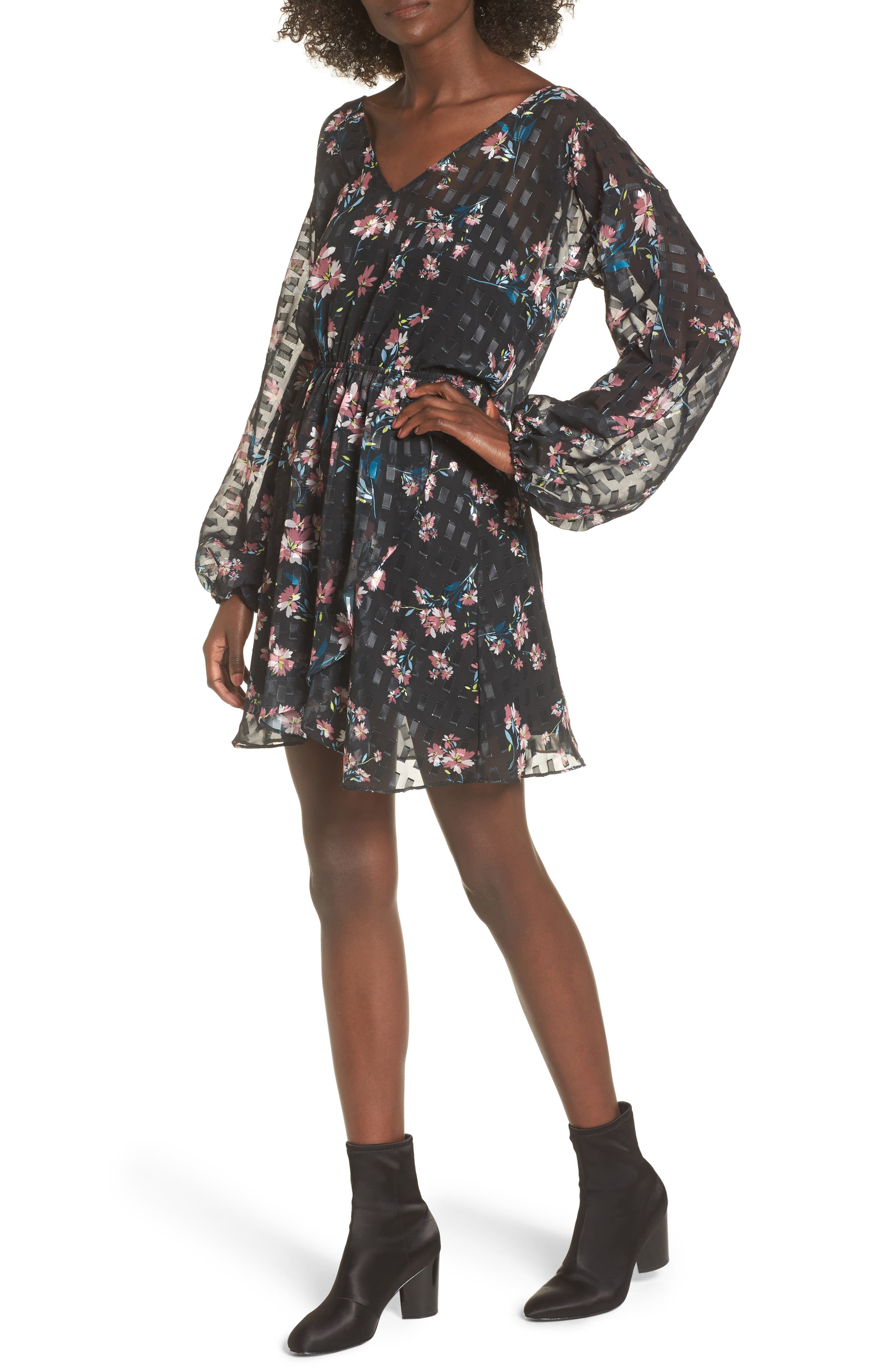Alexis Floral Dress,                         Main,                         color, Midnight Lotus