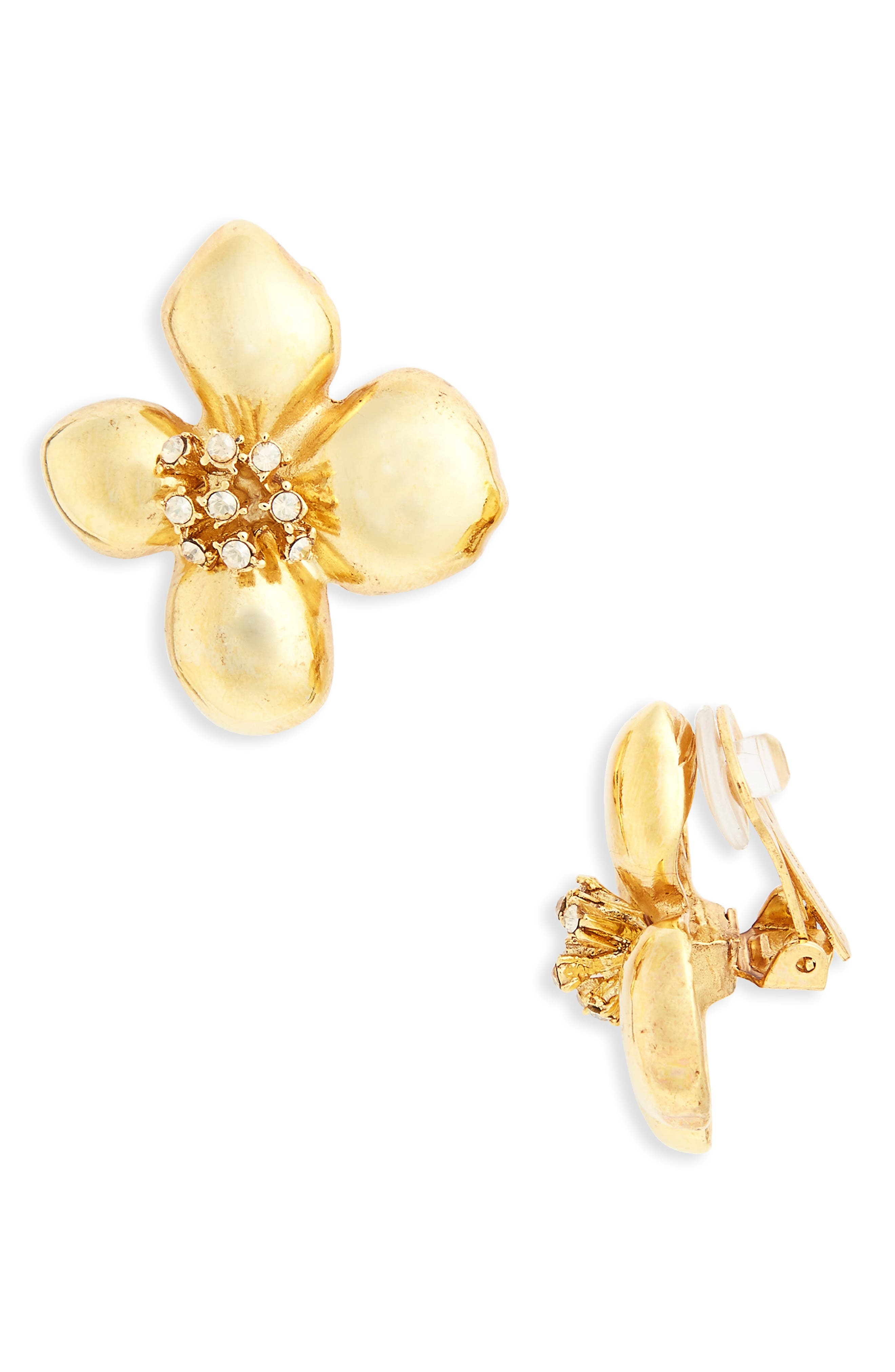 Oscar de la Renta Grapefruit Button Clip Earrings