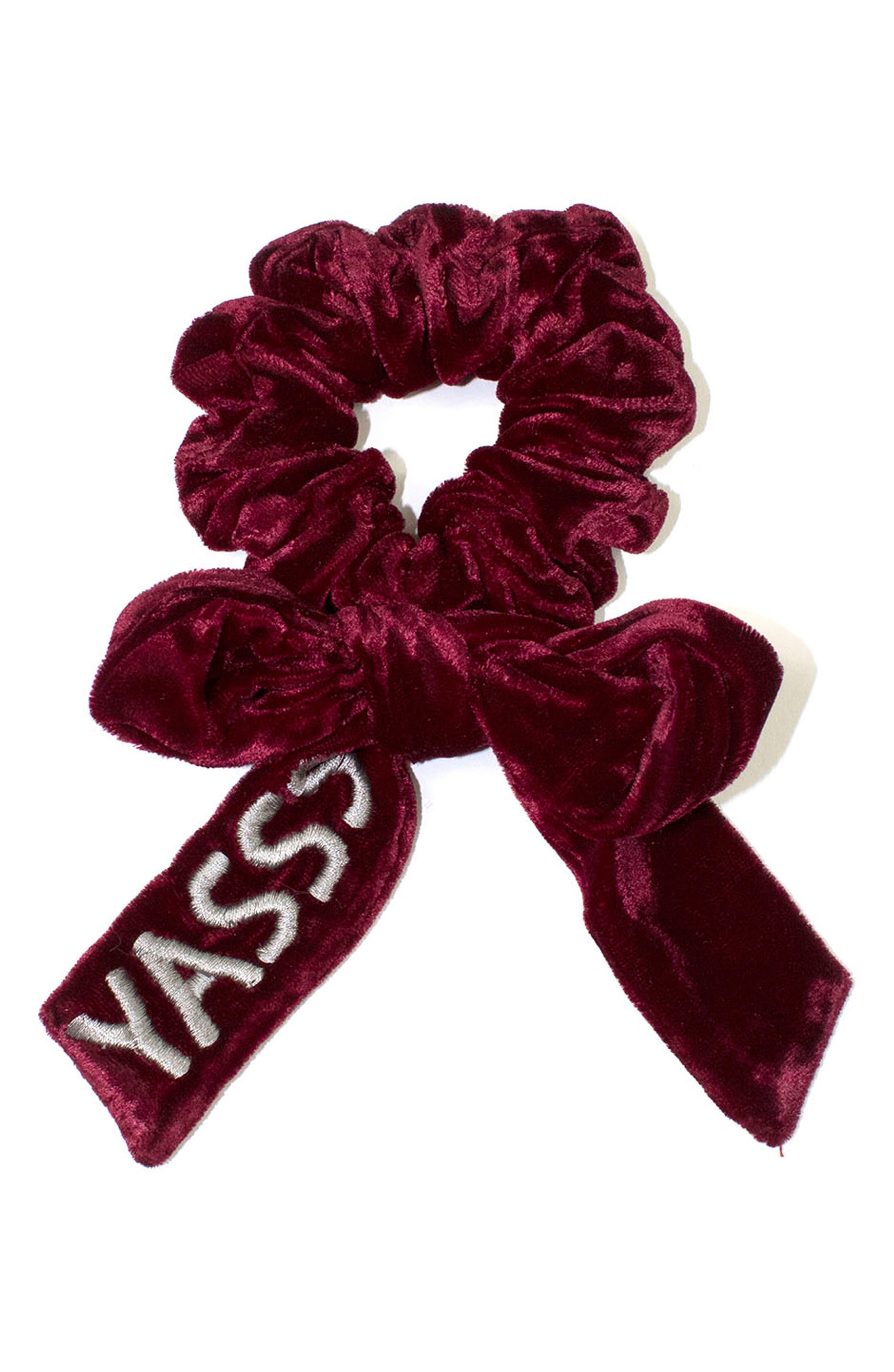 Yasss Velvet Scrunchie,                         Main,                         color, Rouge