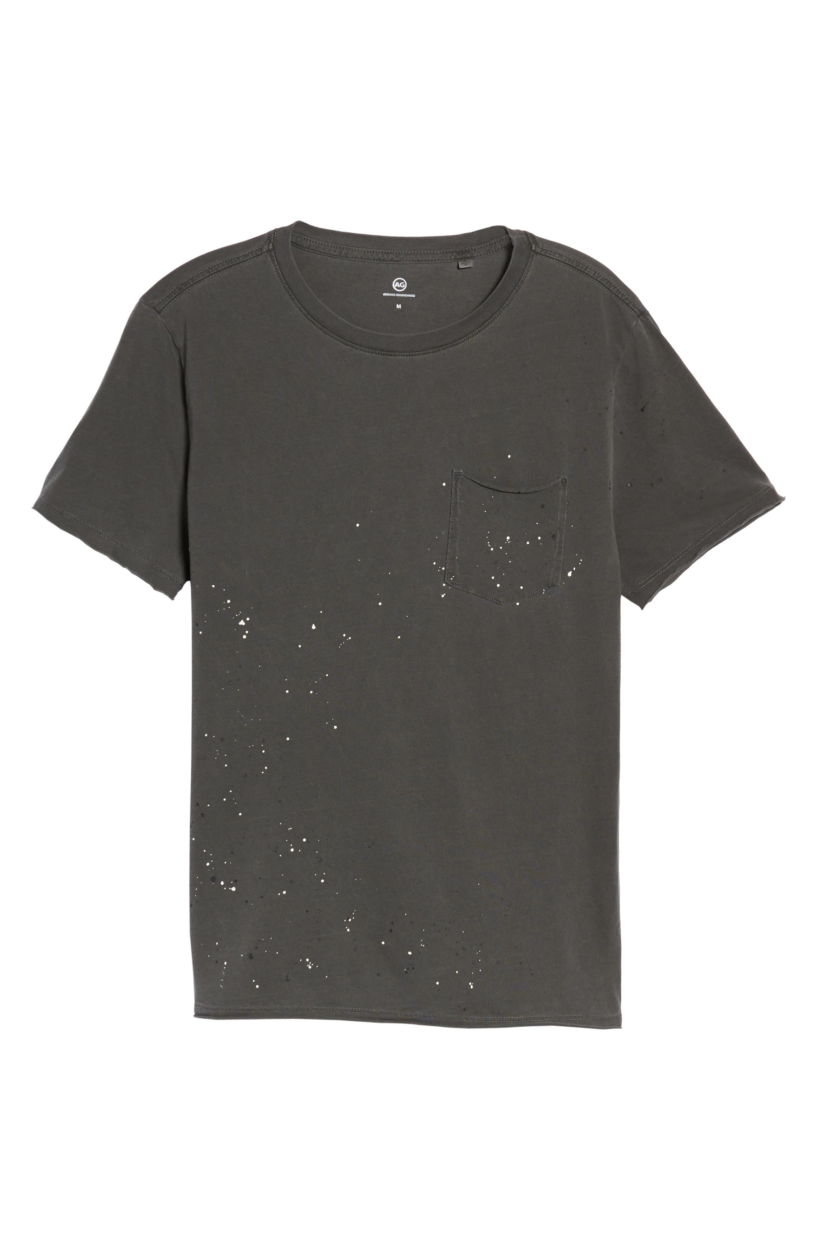 Anders Slim Fit Pocket T-Shirt,                             Alternate thumbnail 6, color,                             Multi Splatter Pigment Black