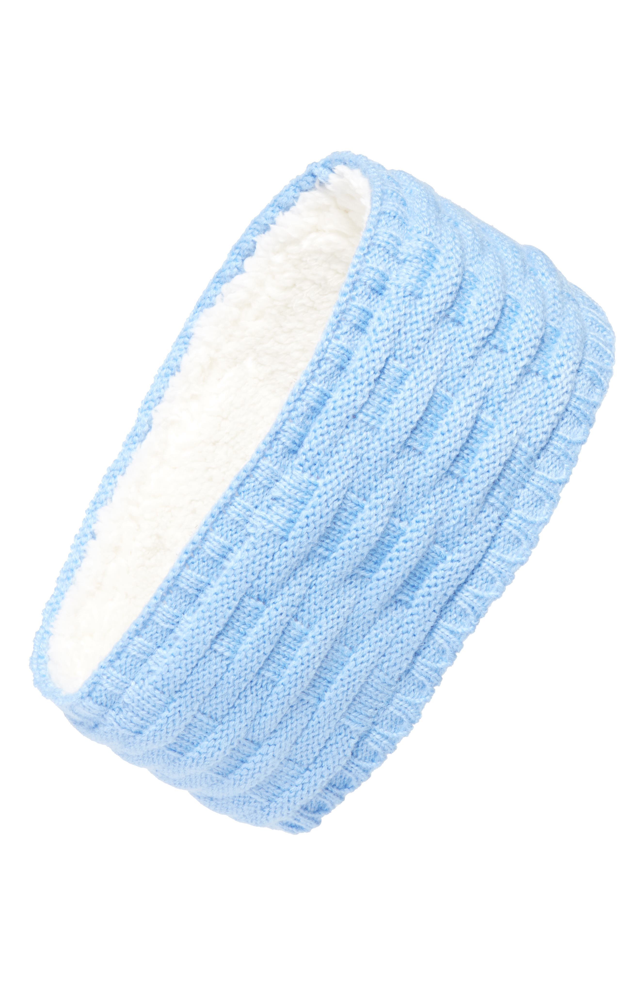 Cross Cable Knit Headband,                         Main,                         color, Azure