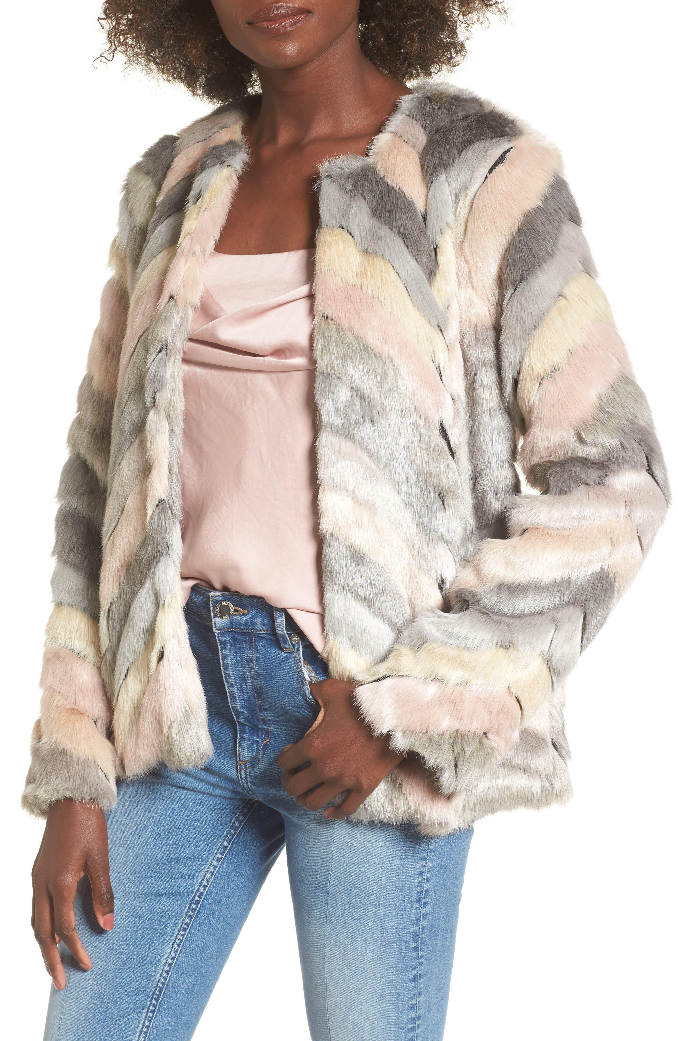 Voila Faux Fur Jacket,                             Main thumbnail 1, color,                             Multi