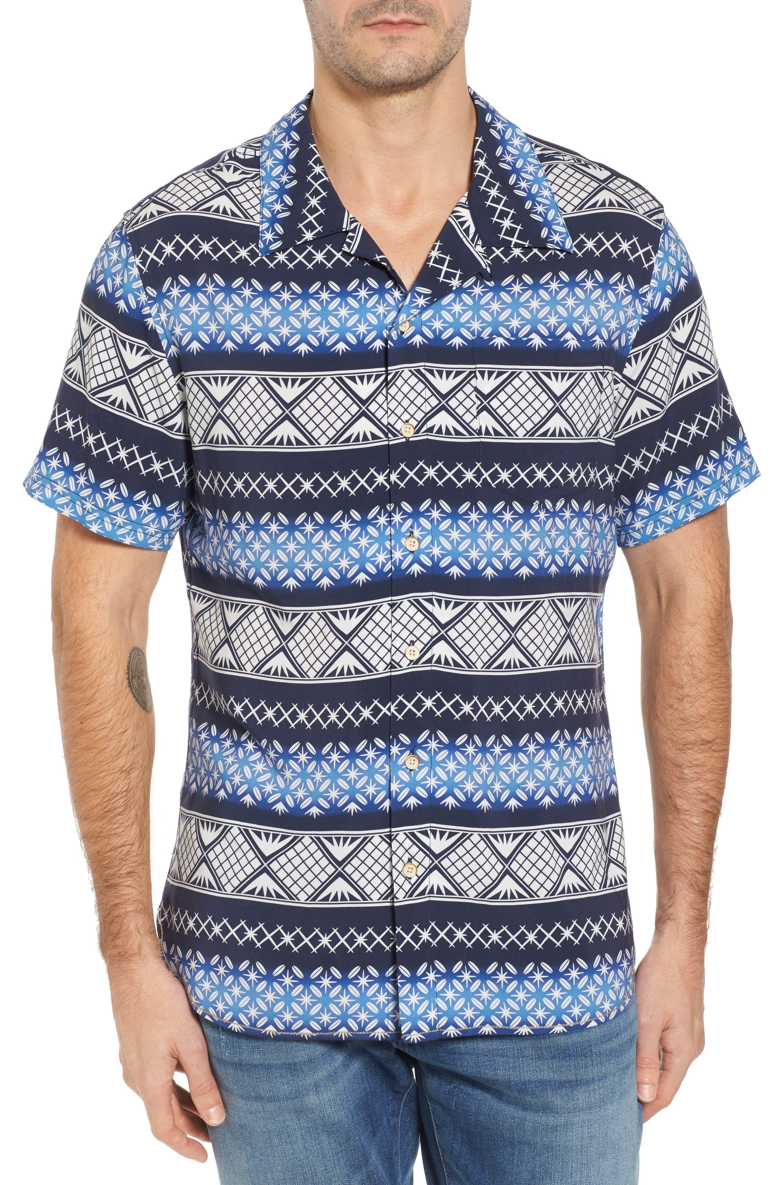Geo Print Sport Shirt,                             Main thumbnail 1, color,                             Navy Blazer