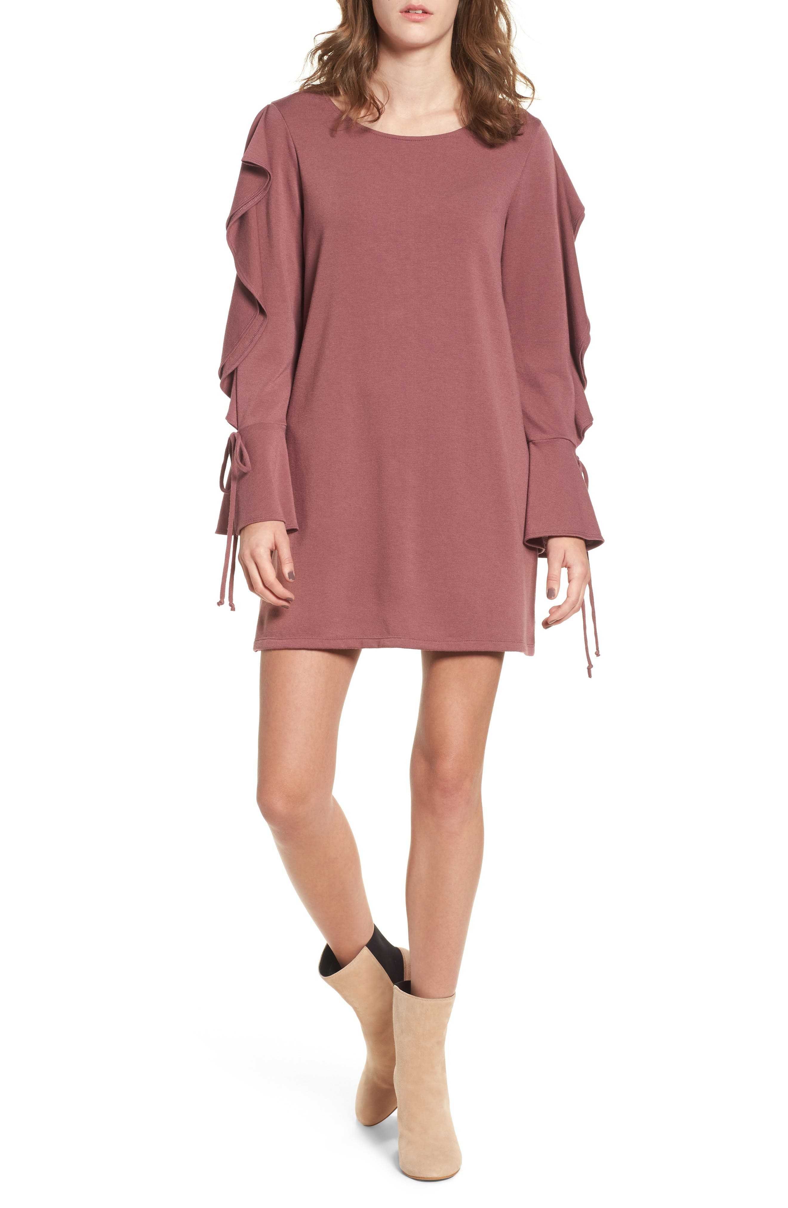 Everly Ruffle Sleeve Sweatshirt Dress