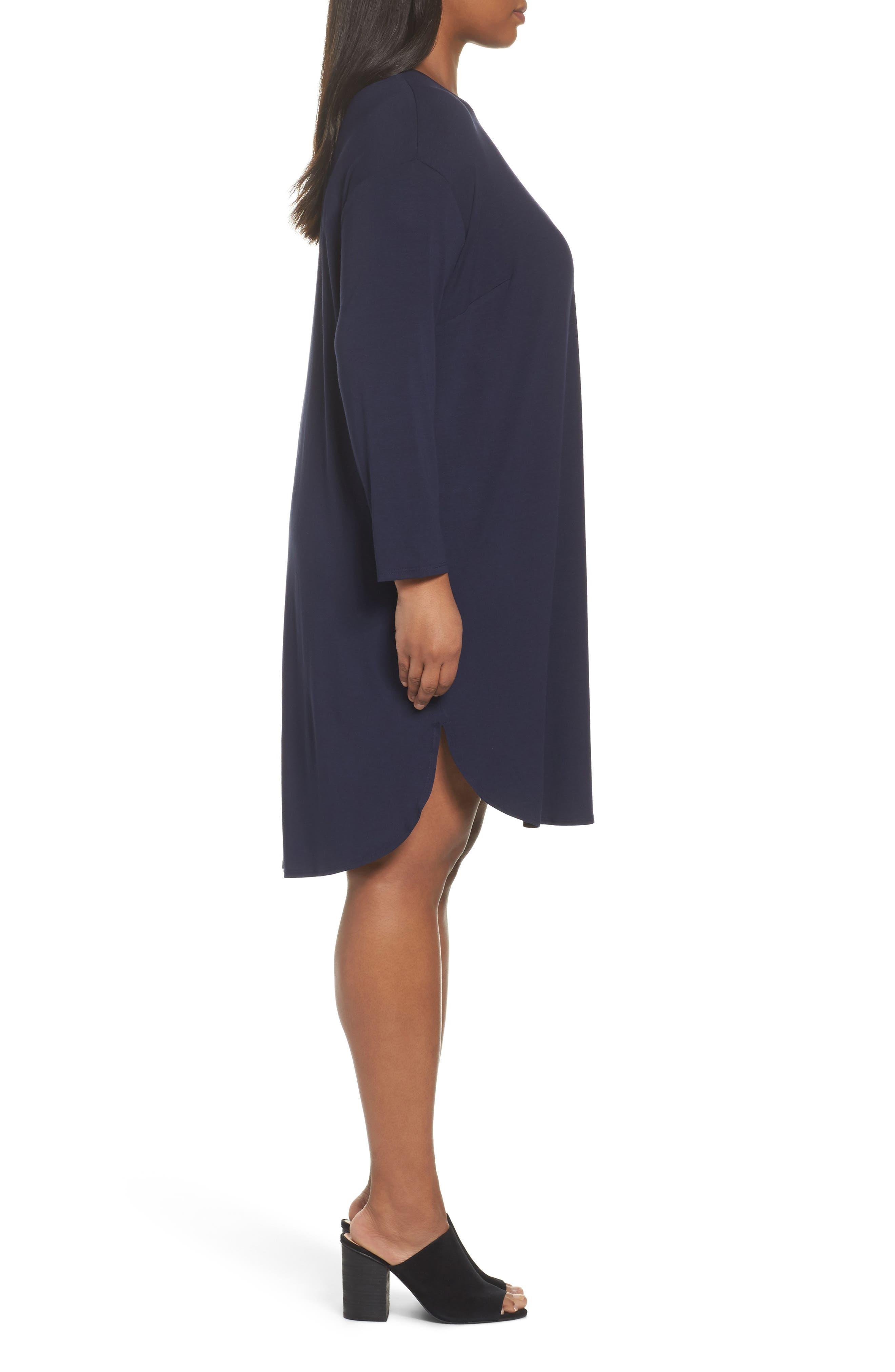 Jersey Shift Dress,                             Alternate thumbnail 3, color,                             Midnight