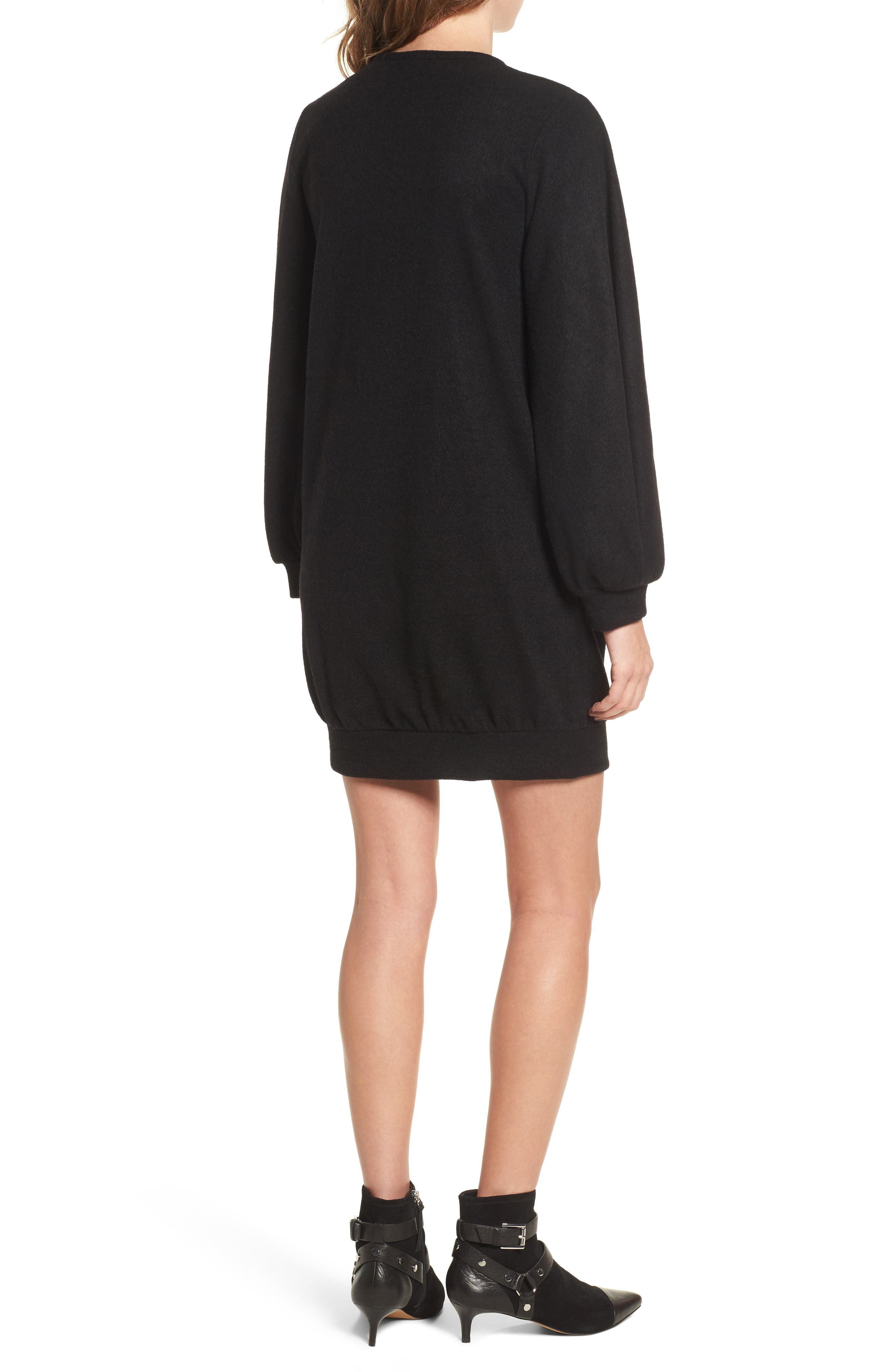 Balloon Sleeve Sweater Dress,                             Alternate thumbnail 2, color,                             Black