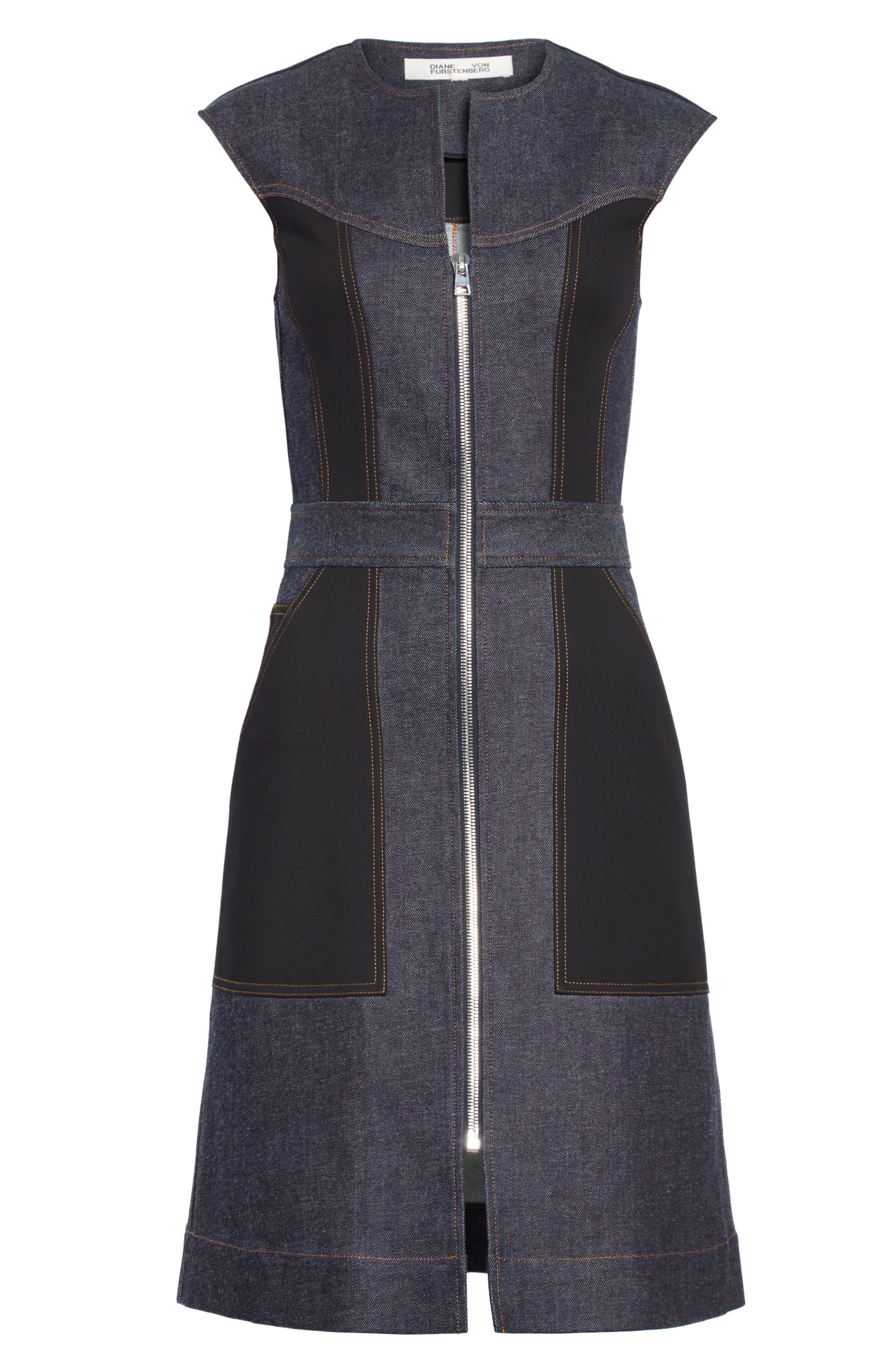 Diane von Furstenberg Front Zip Denim Dress,                             Alternate thumbnail 6, color,                             Indigo/ Black
