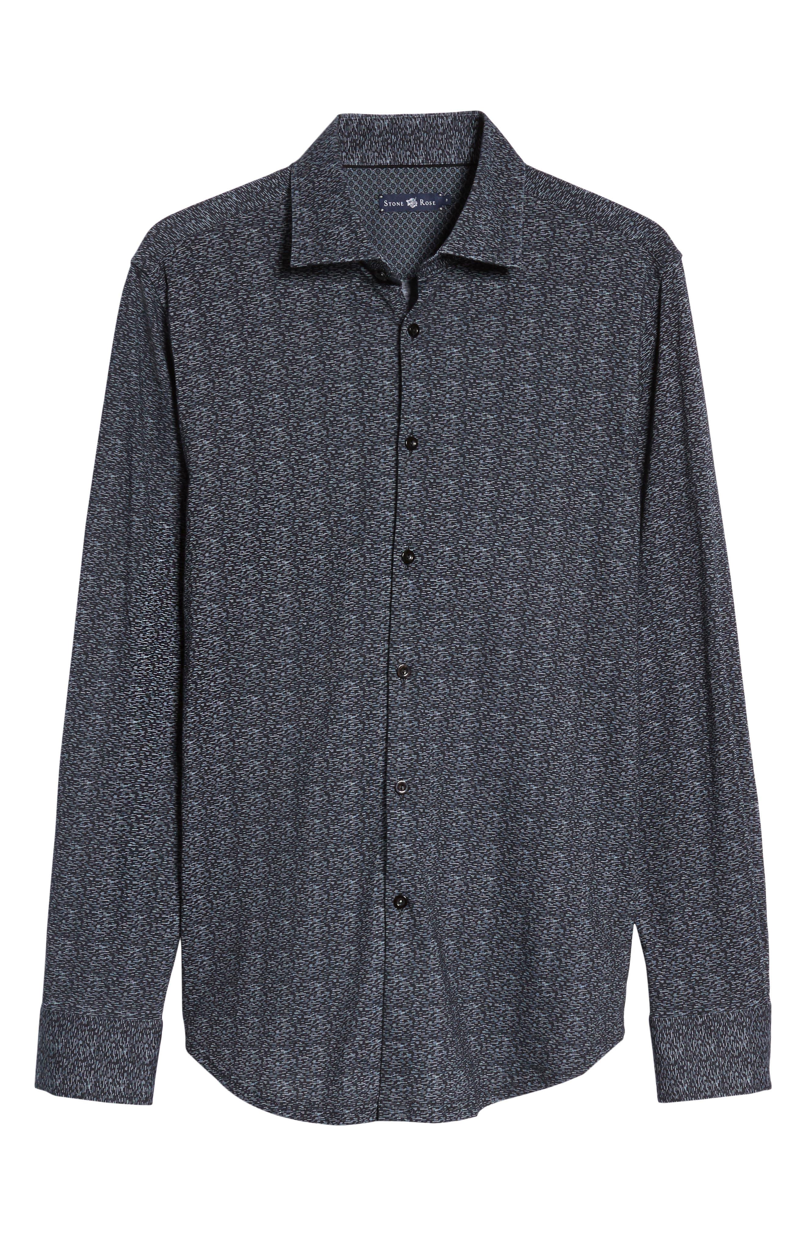 Mélange Knit Sport Shirt,                             Alternate thumbnail 6, color,                             Black