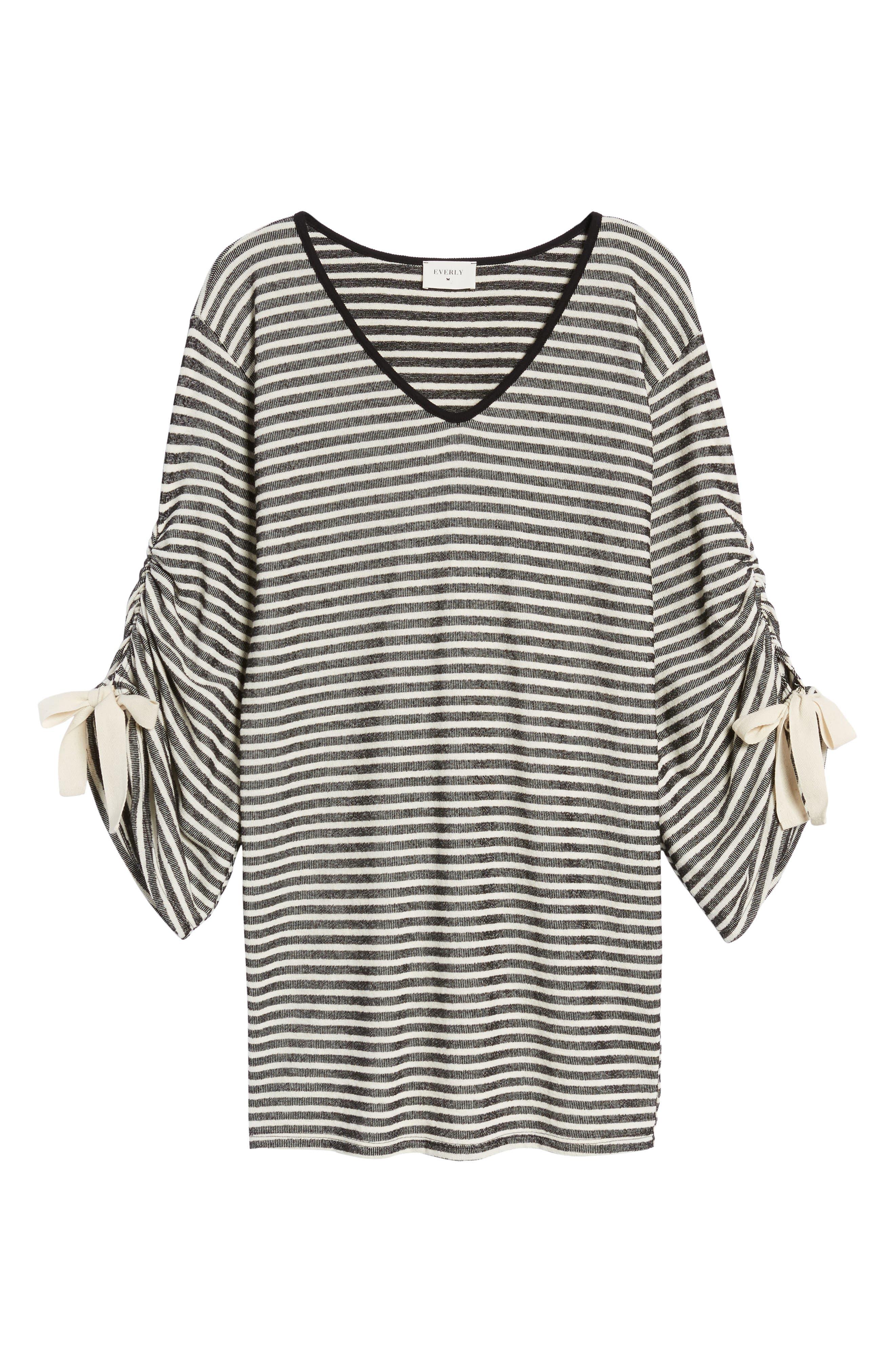 Tie Sleeve Sweatshirt Dress,                             Alternate thumbnail 6, color,                             Black/ Ivory